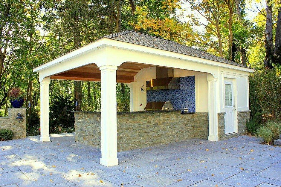 15 x 22 ft custom pool house cabana with bathroom for Pool house designs with outdoor kitchen