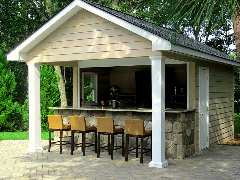 16 x 20 ft pool house cabana for Pool shed with bar plans