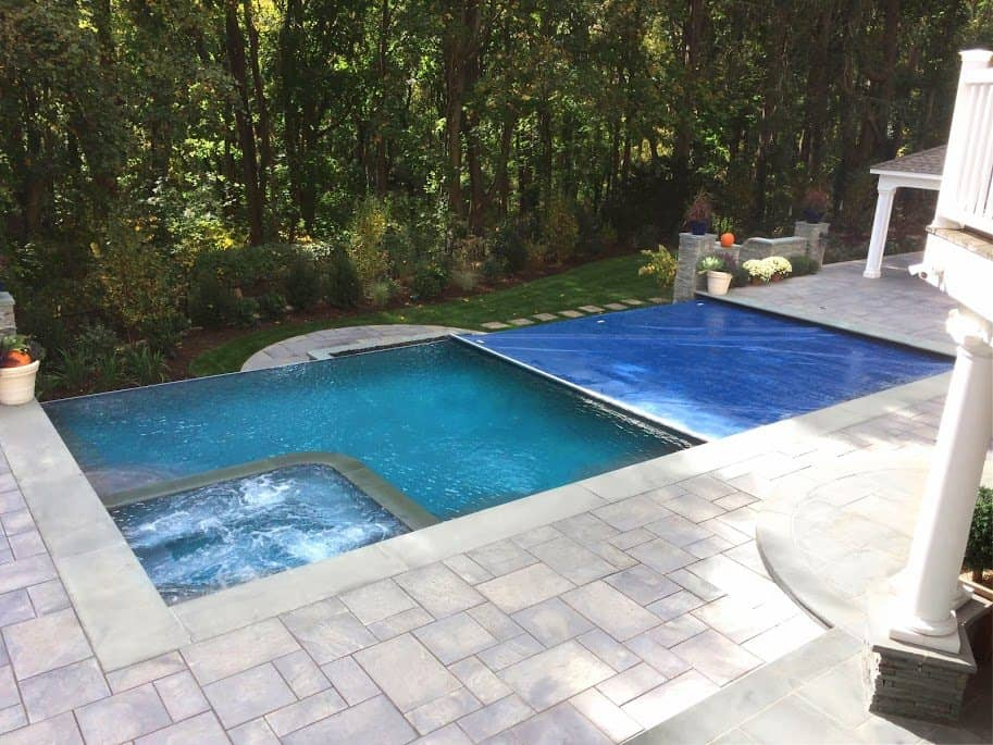 24 x 44 gunite pool with 44 infinity edge 8 x 8 for 12x24 pool design
