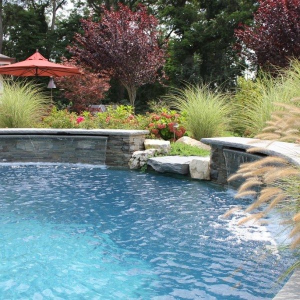 Free Form Gunite Pool w/ Sheer Descent Waterfalls & Spill-Over Gunite Spa