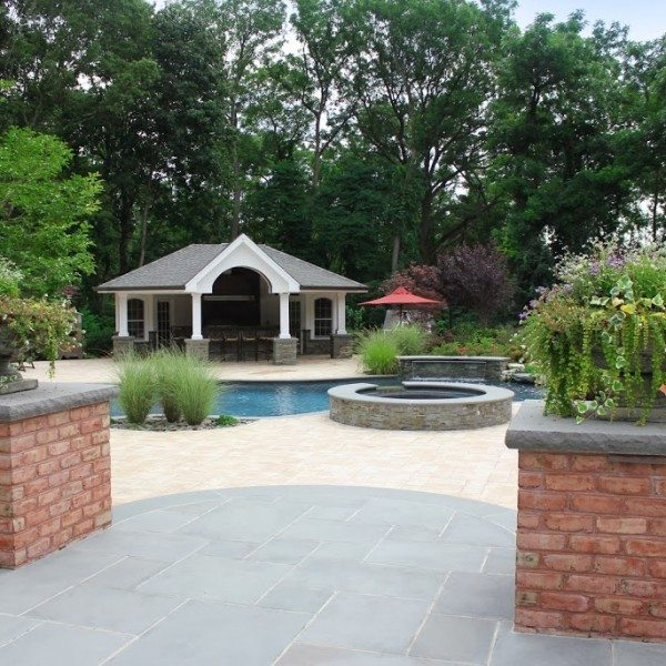 Free Form Custom Gunite Pool w/ Sheer Descent Waterfalls & Spill-Over Gunite Spa