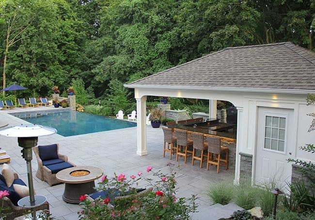Award winning landscape design companies long island for Pool house designs with outdoor kitchen