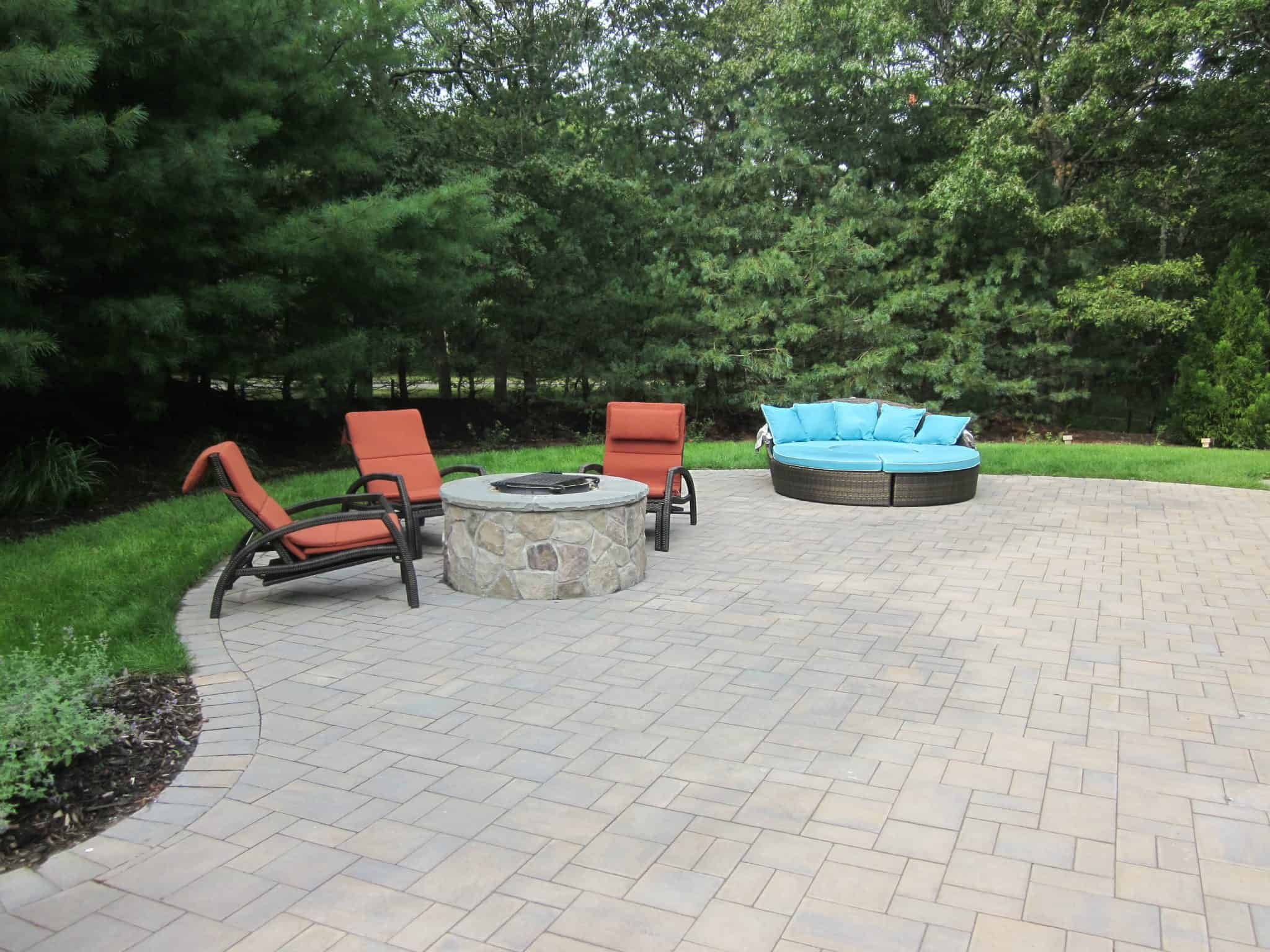 Wood burning Fire Pit veneered in Dressed Field Stone - Bucks County - Hampton Bays, Long Island NY