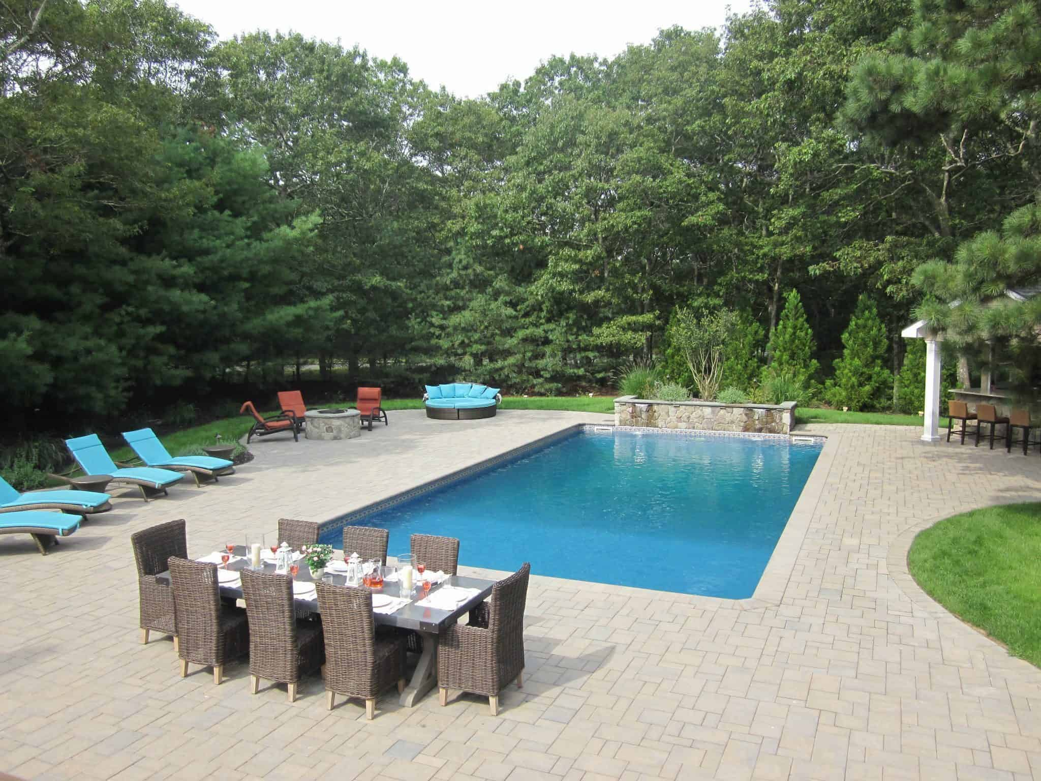 18' x 36' Pool with Sheer Descents and LED color light - Hampton Bays, Long Island NY