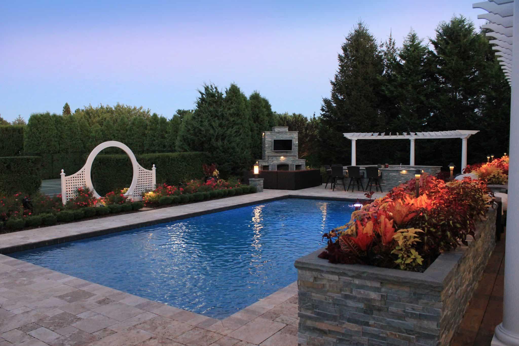 20' x 40' Gunite Pool with Black Slate Tile - Southampton, Long Island NY
