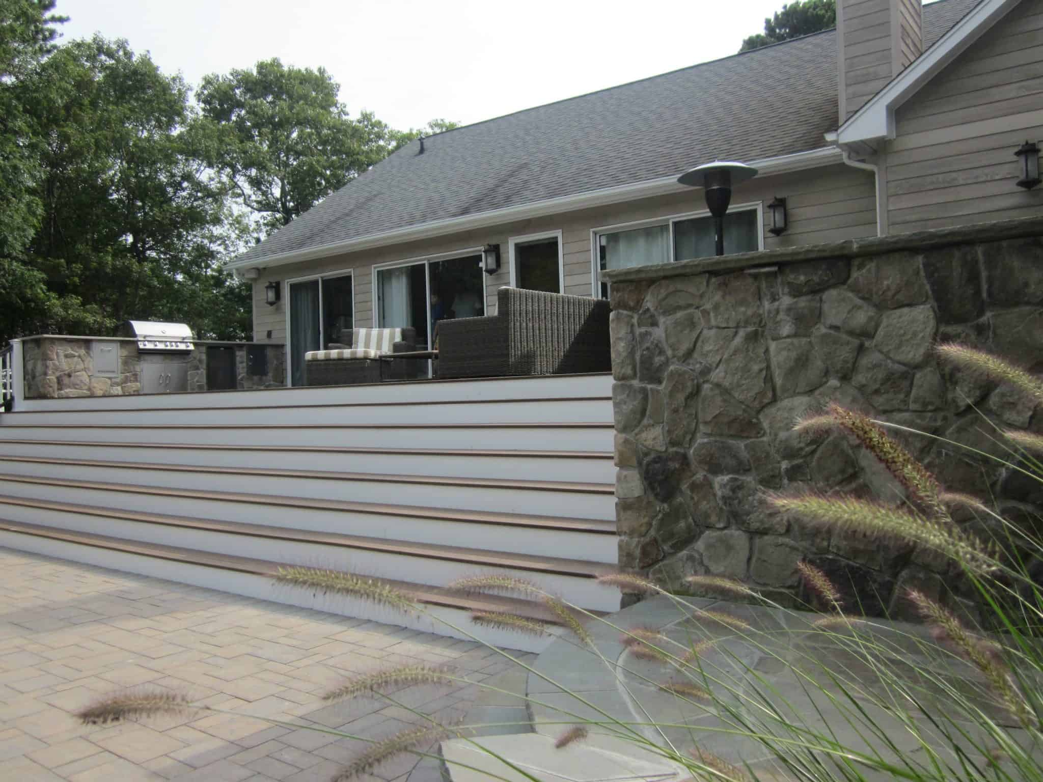 Built in Spa and Outdoor Kitchen veneered in Dressed Field Stone - Bucks County - Hampton Bays, Long Island NY