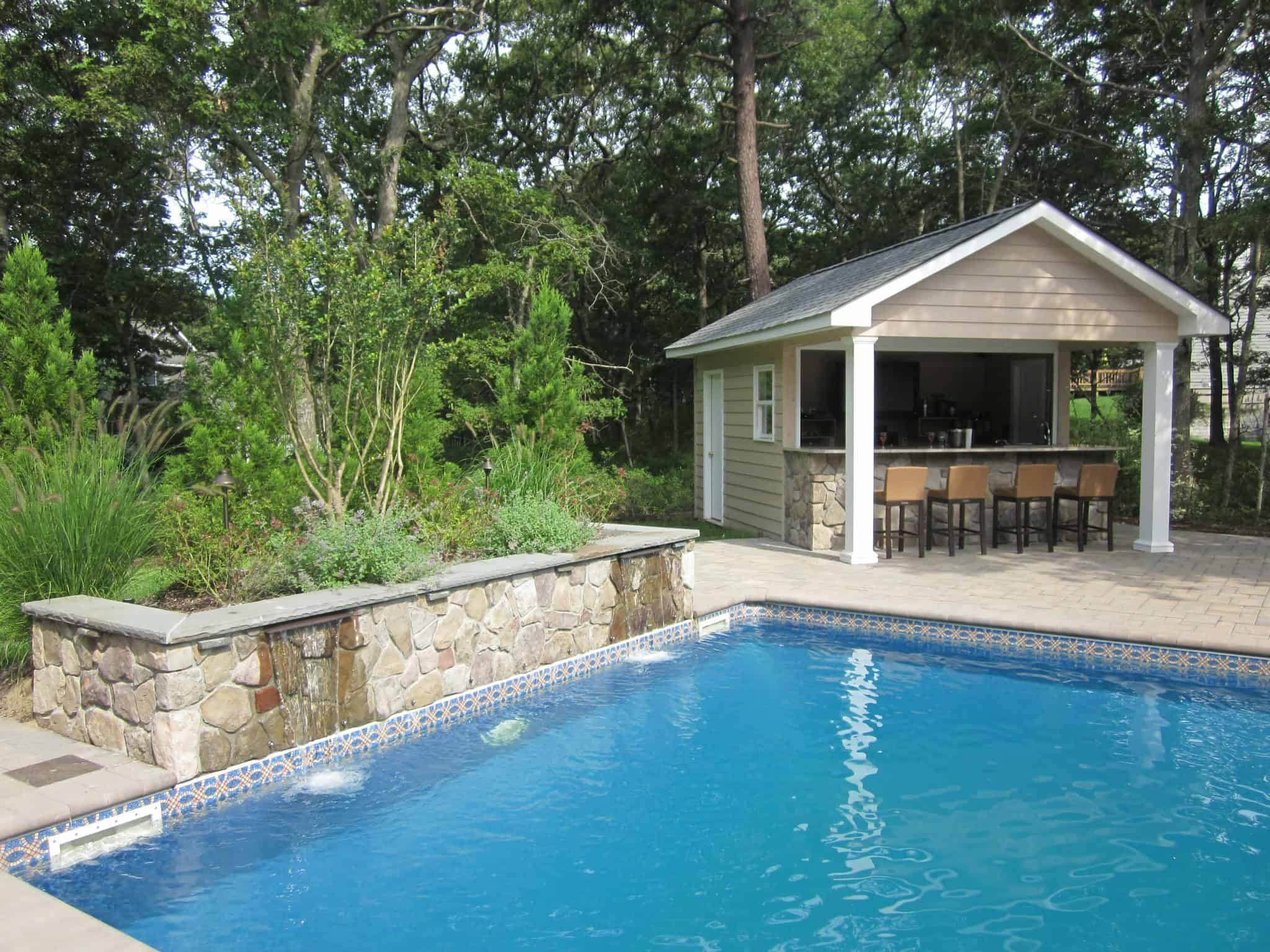 Custom carpentry cabanas pool houses long island for Pool house designs