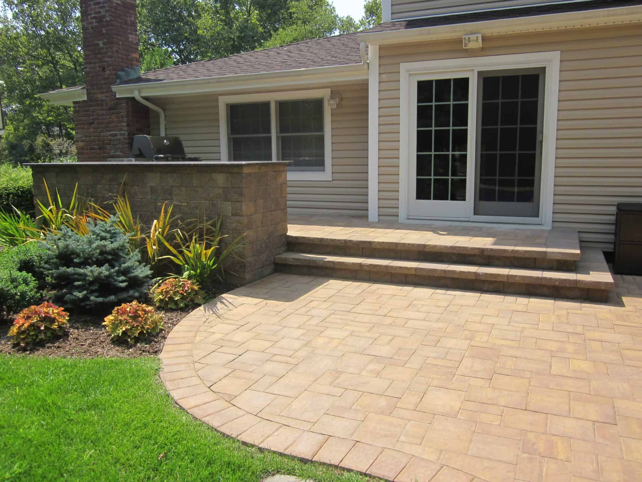 Paver Patio - Cambridge Ledgestone Patio and Stoop -Sahara Chestnut- Random Pattern - Dix Hills, Long Island NY