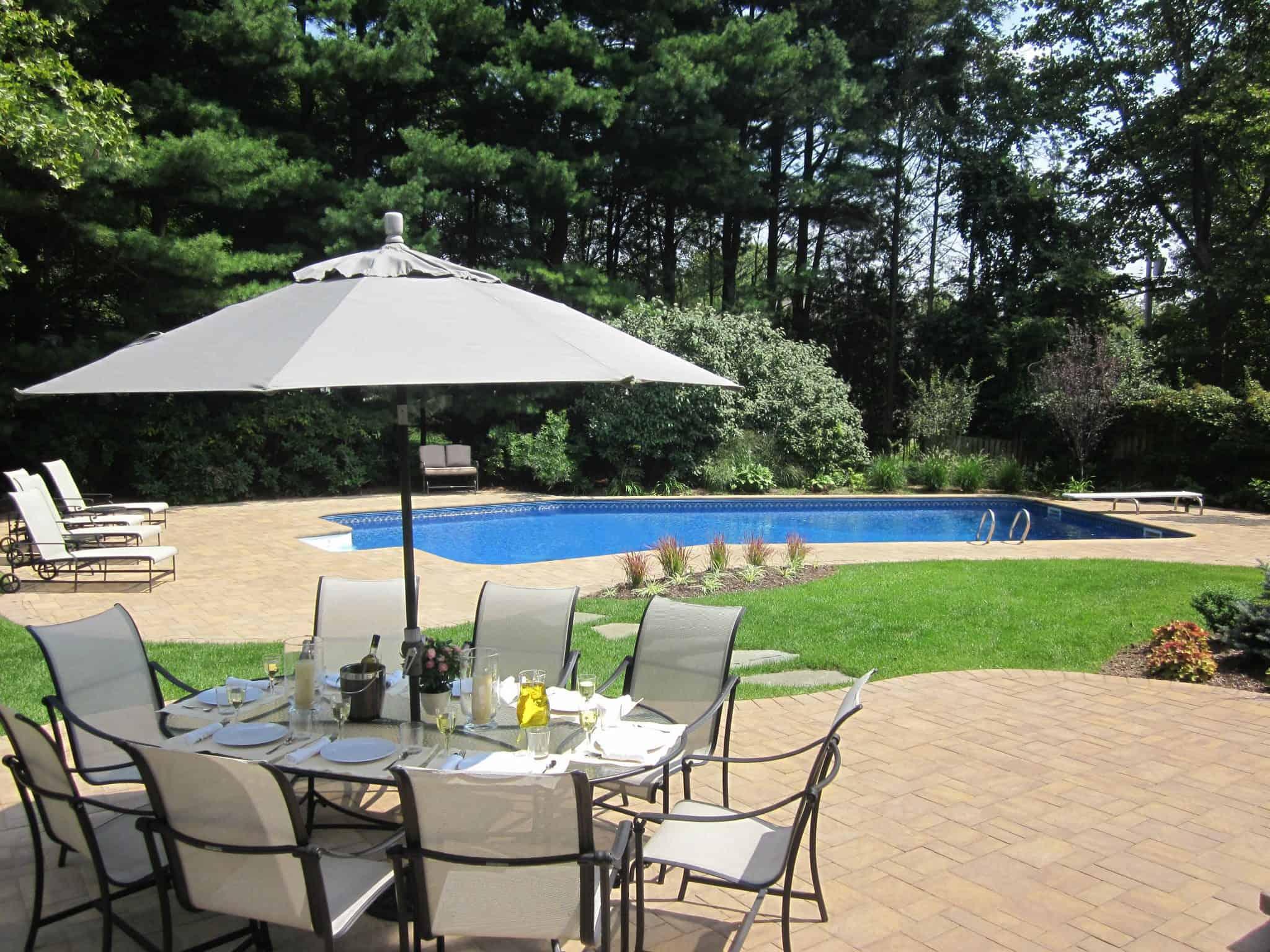 Paver Patio - Cambridge Ledgestone Pool Patio - Sahara Chestnut- Random Pattern - Dix Hills, Long Island NY