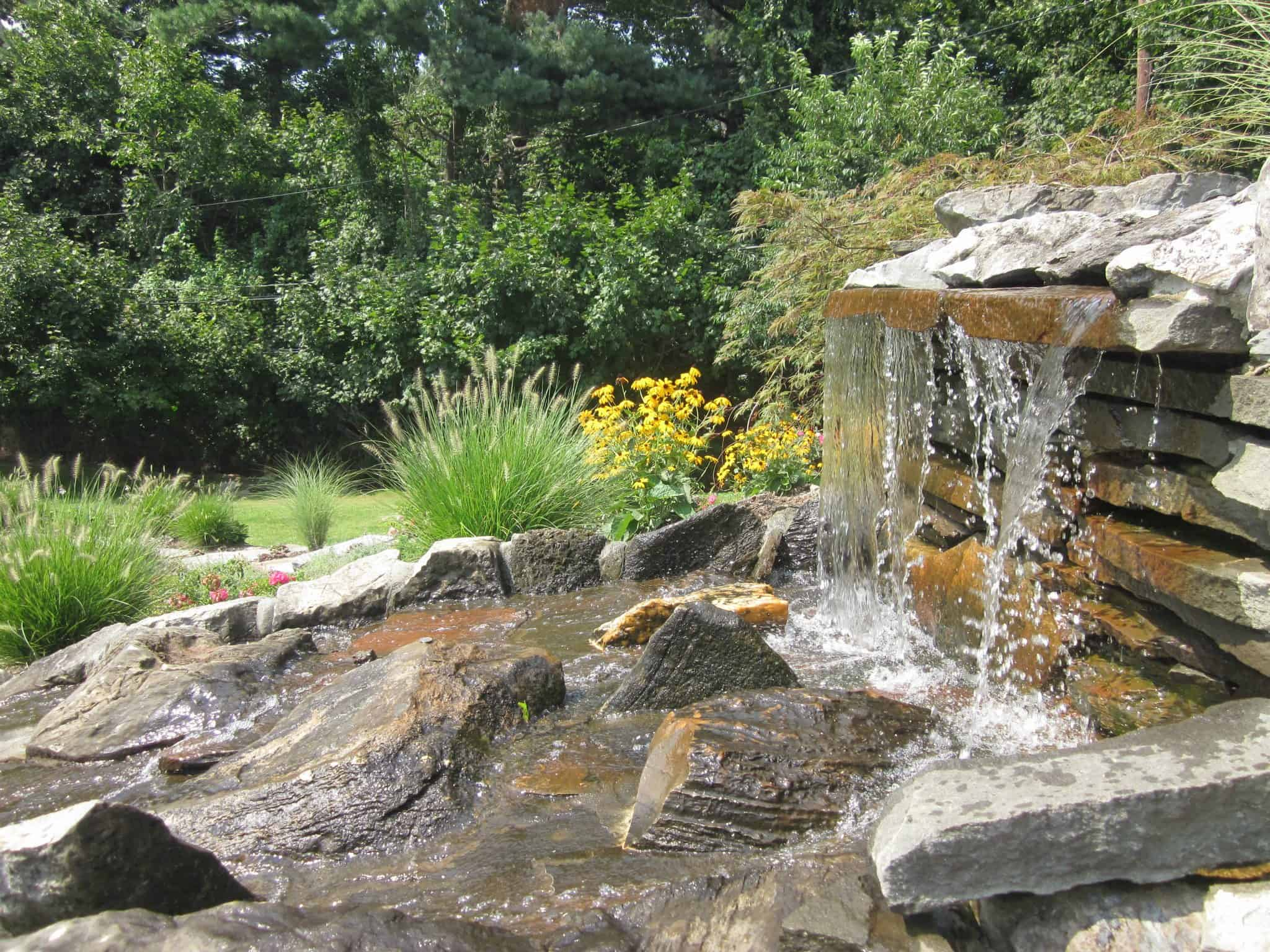 20' Westchester Stone and Slate Pondless Waterfall - Syosset, Long Island NY
