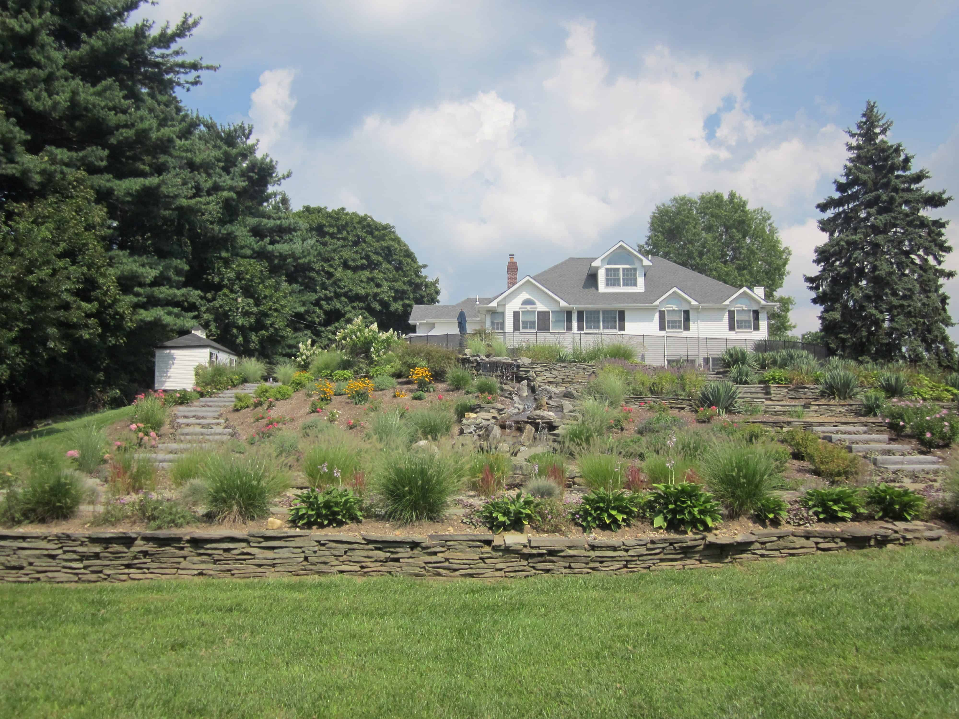 Landscape Plantings - Foreground - Mixed Grasses - Background - Mixed Perennials - Syosset, Long Island NY