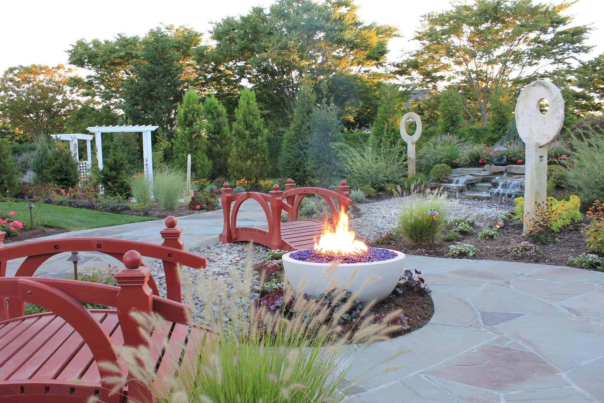 Gas Fire Pit with Diamond Blue Fire Glass - Southampton, Long Island NY