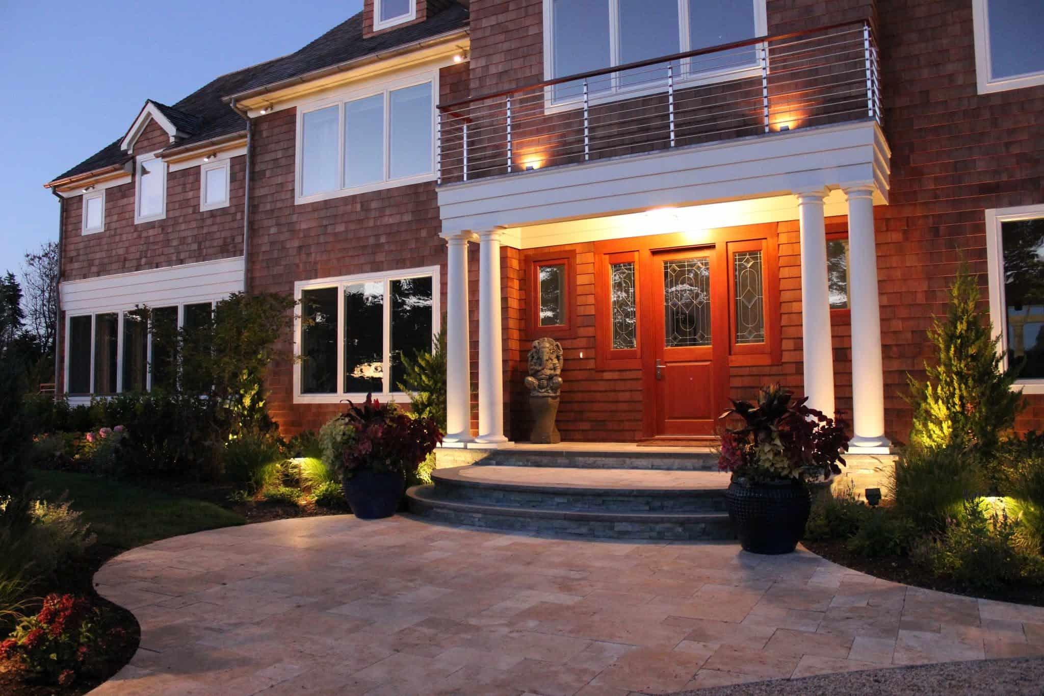 36 inch Glazed Diamond Pottery planted with Coleus, Tie, and Verbena - Southampton, Long Island NY