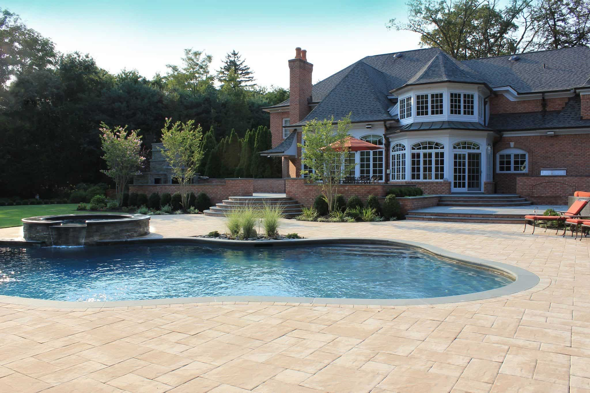 Paver Patio   Nicolock Pool Patio   Travertina   Random Pattern   Old  Westbury, Long