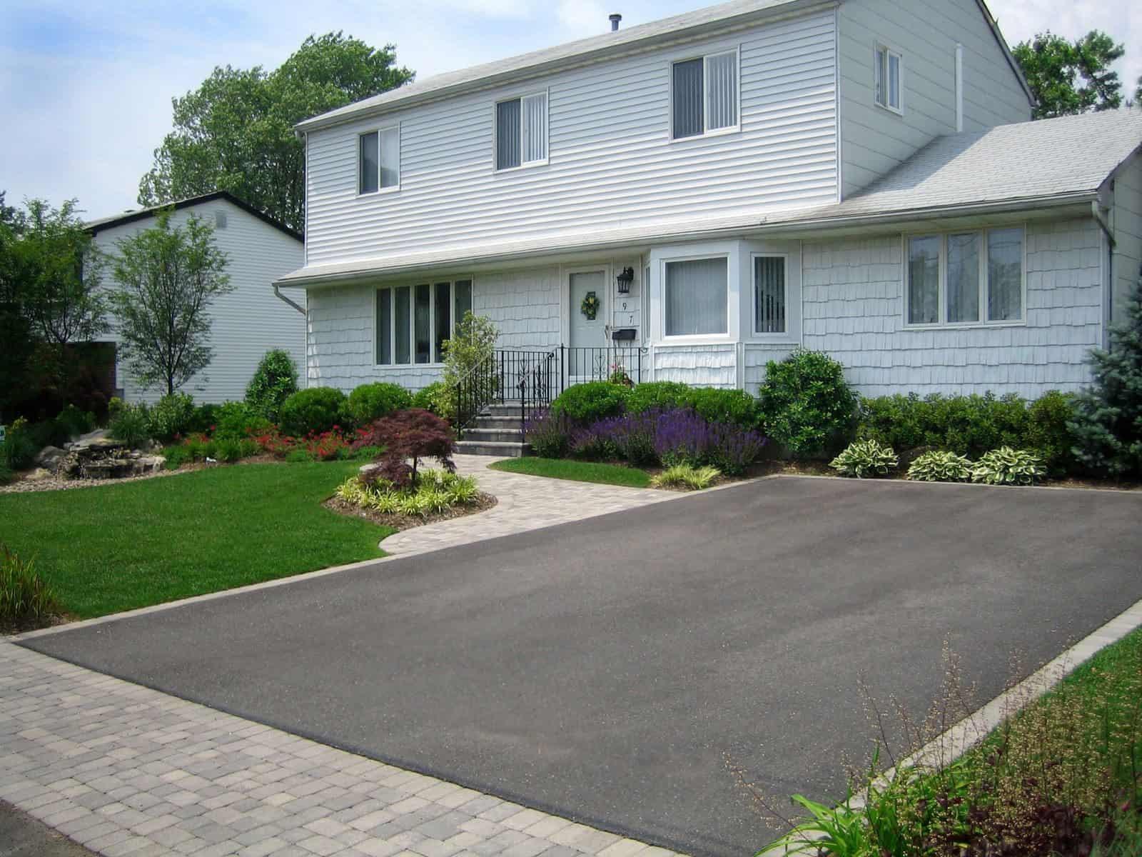 Asphalt Driveway - Nicolock Roma I & Roma II Paver Apron, Walkway, and Stoop - Color - Granite City - Dix Hills, Long Island NY
