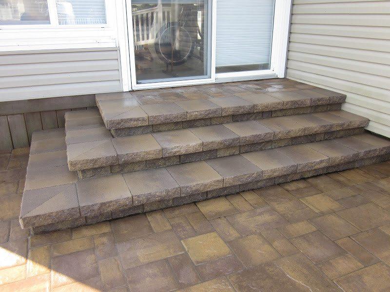 Paver Walkway - Cambridge Ledgeston -Sahara Chestnut Paver Walkway- Random Pattern - Matryx Wall System Paver Steps - Flanders, Long Island NY