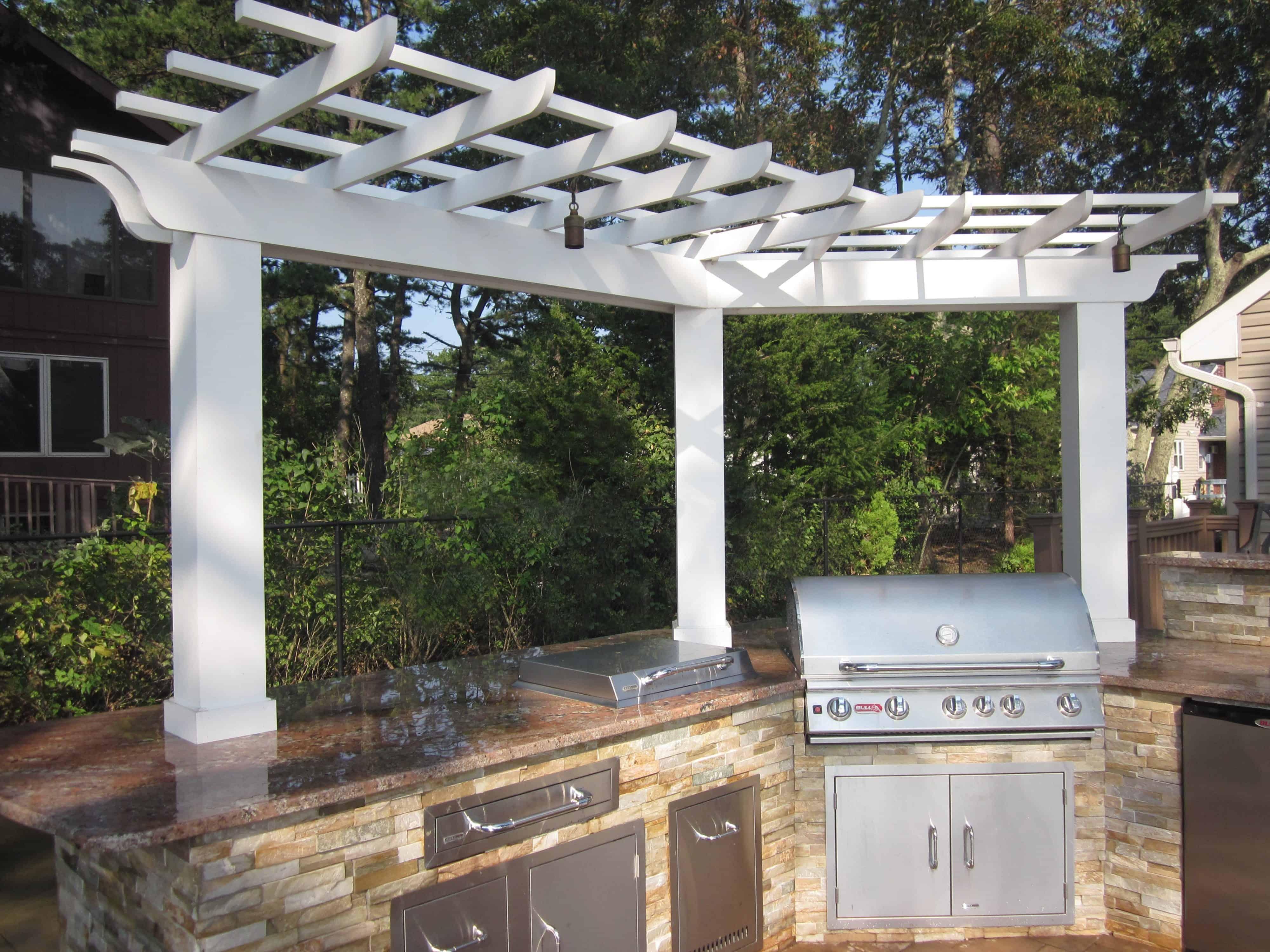 8' x 3' Azek Pergola over Outdoor Kitchen - Flanders, Long Island NY
