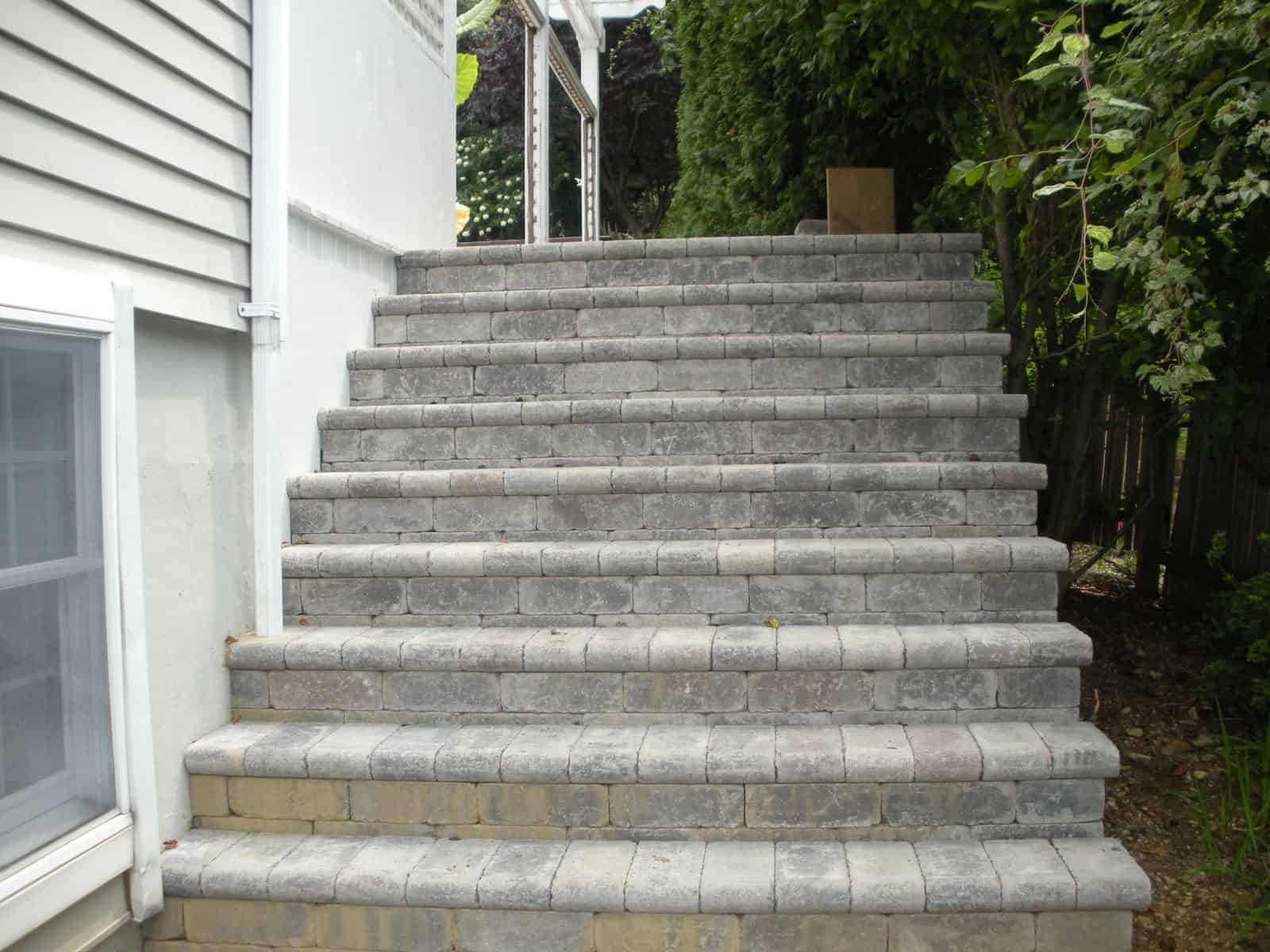 Paver Steps - Unilock Tumbled Brussels Block Paver Steps - Sandstone and Limestone Mix - Fullnose Treads - Roslyn, Long Island NY