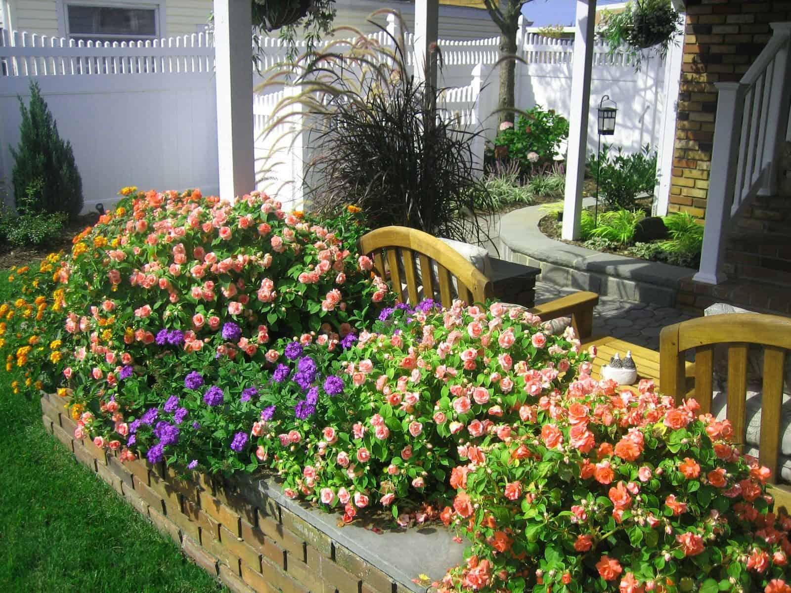Danish Brick planter with Bluestone Cap planted with Double Impatients - Massapequa Park, Long Island NY