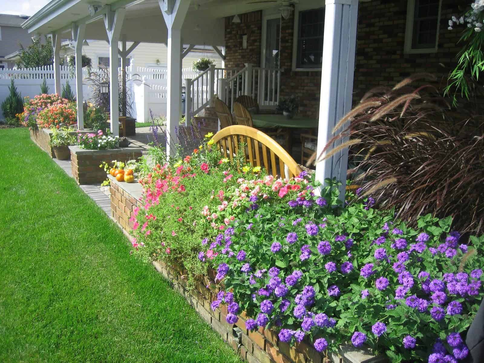 Danish Brick planter with Bluestone Cap planted with Double Impatients, Verbena, and Purple Fountain Grass - Massapequa Park, Long Island NY