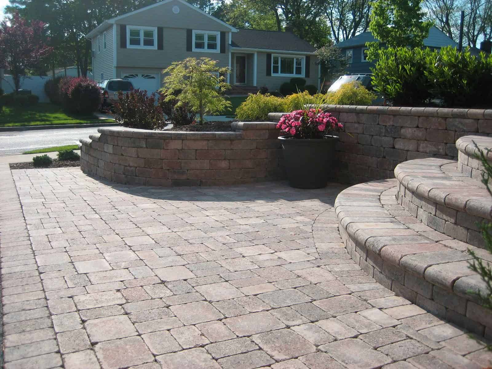Retaining Wall - Unilock Dimesional Tumbled Wall System - Color - Terra Cota - with full nose cap - Plainview, Long Island NY