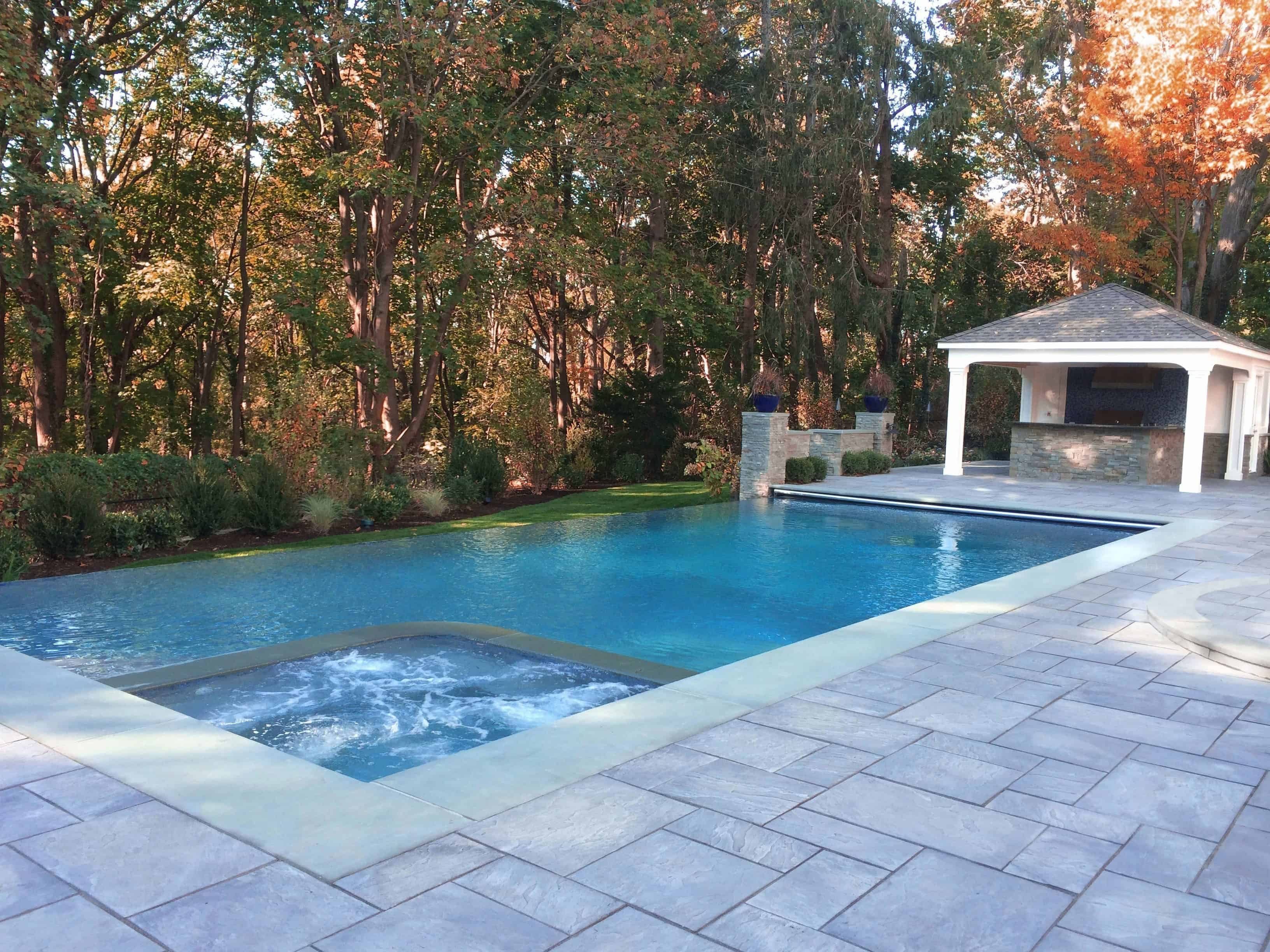 24' x 44' Gunite Pool with 44' Infinity Edge, 8' x 8' Custom Spa, and Automatic Cover - Manhasset, Long Island NY