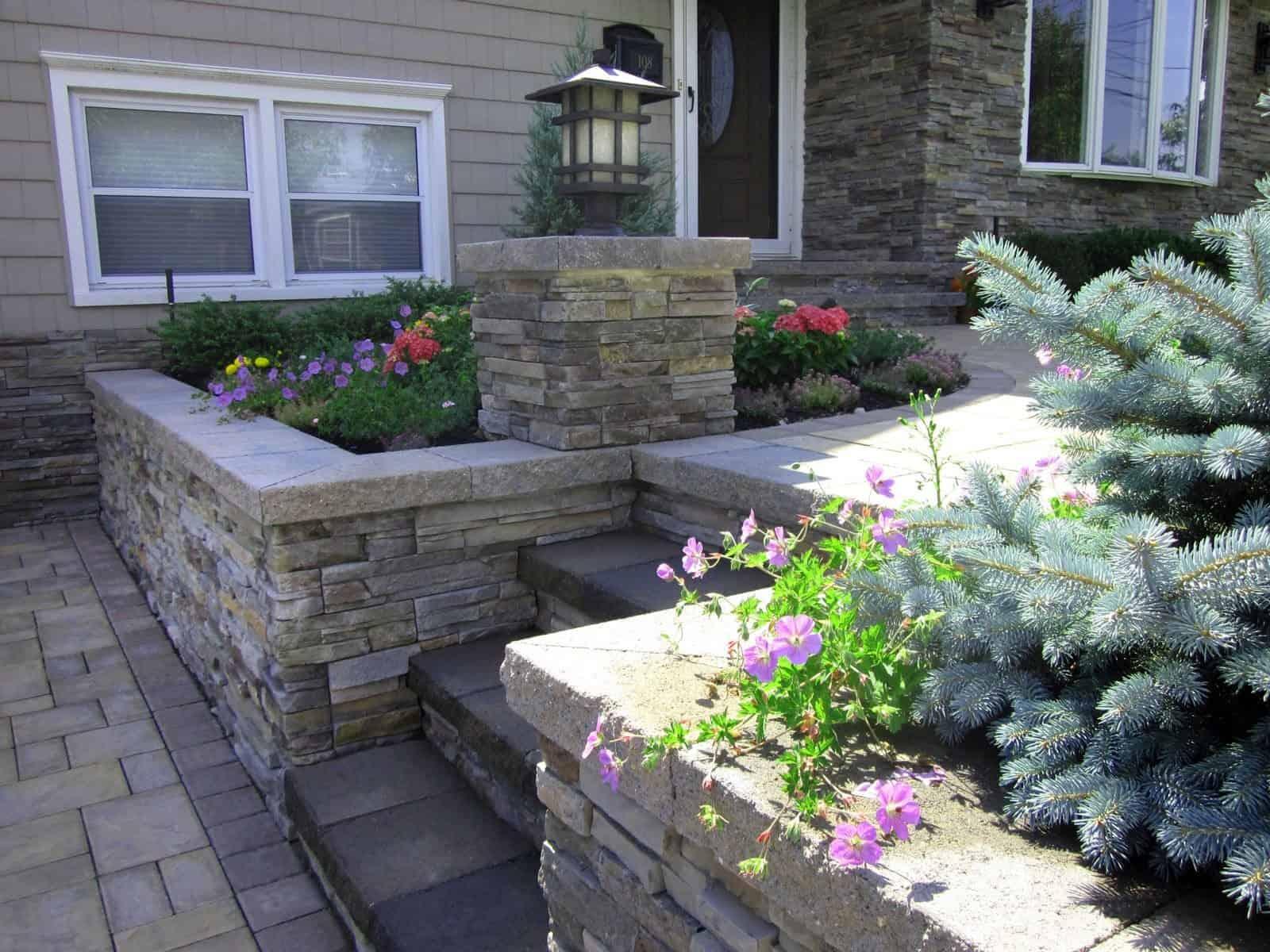 Landscape Plantings - Geranium Rozanne and Montgomery Blue Spruce - Massapequa, Long Island NY