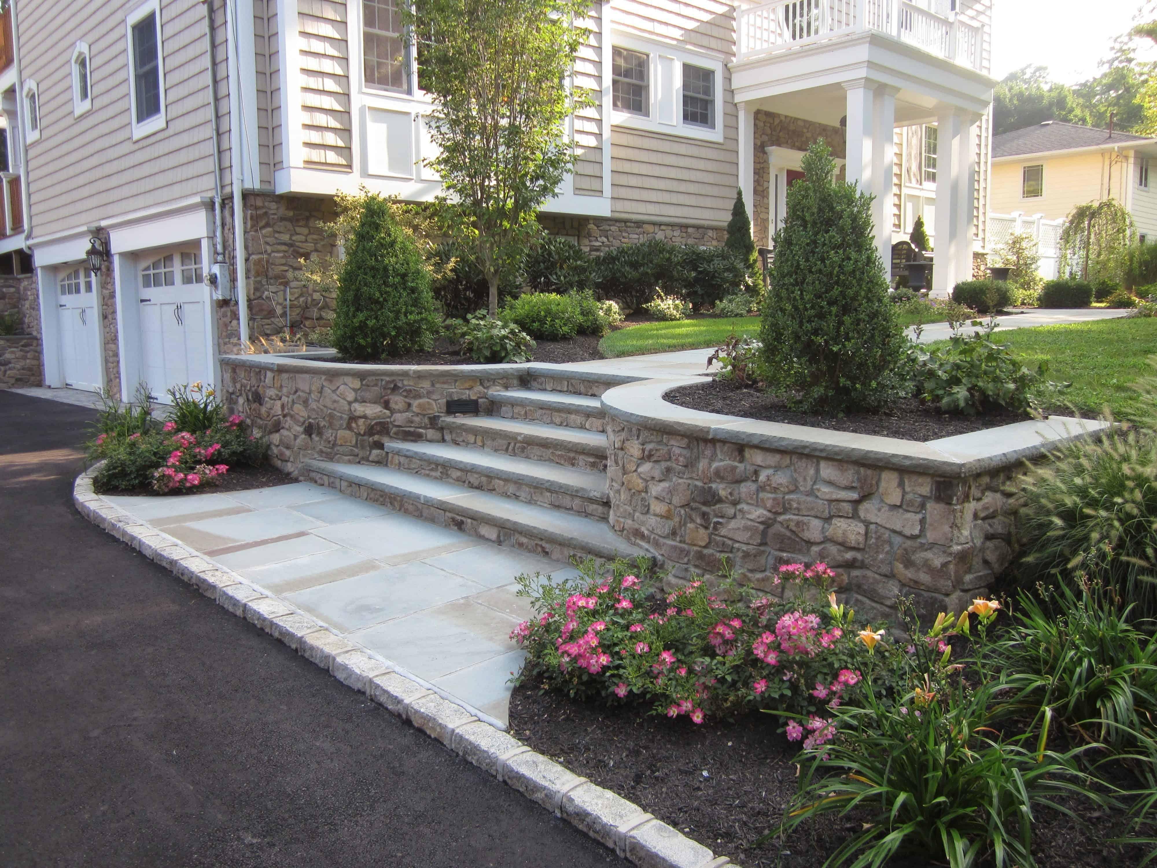 Belgium Block Driveway - Bluestone Entrance with Cultured Stone walls and Bluestone Treads - Glen Cove, Long Island NY
