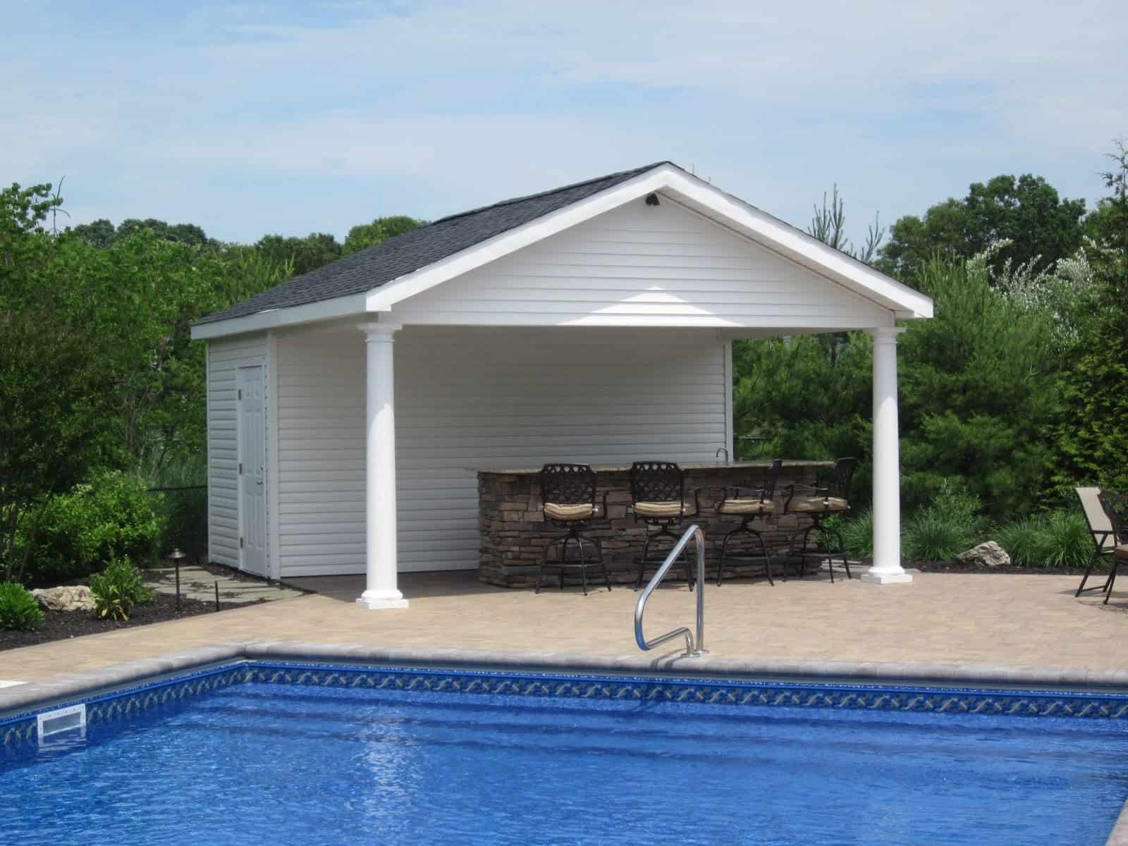 Custom carpentry cabanas pool houses long island for Pool cabana plans