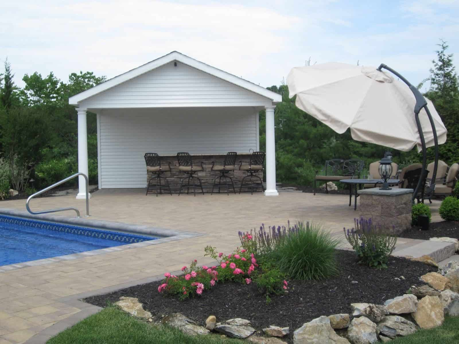 Custom carpentry cabanas pool houses long island for Custom pool cabanas