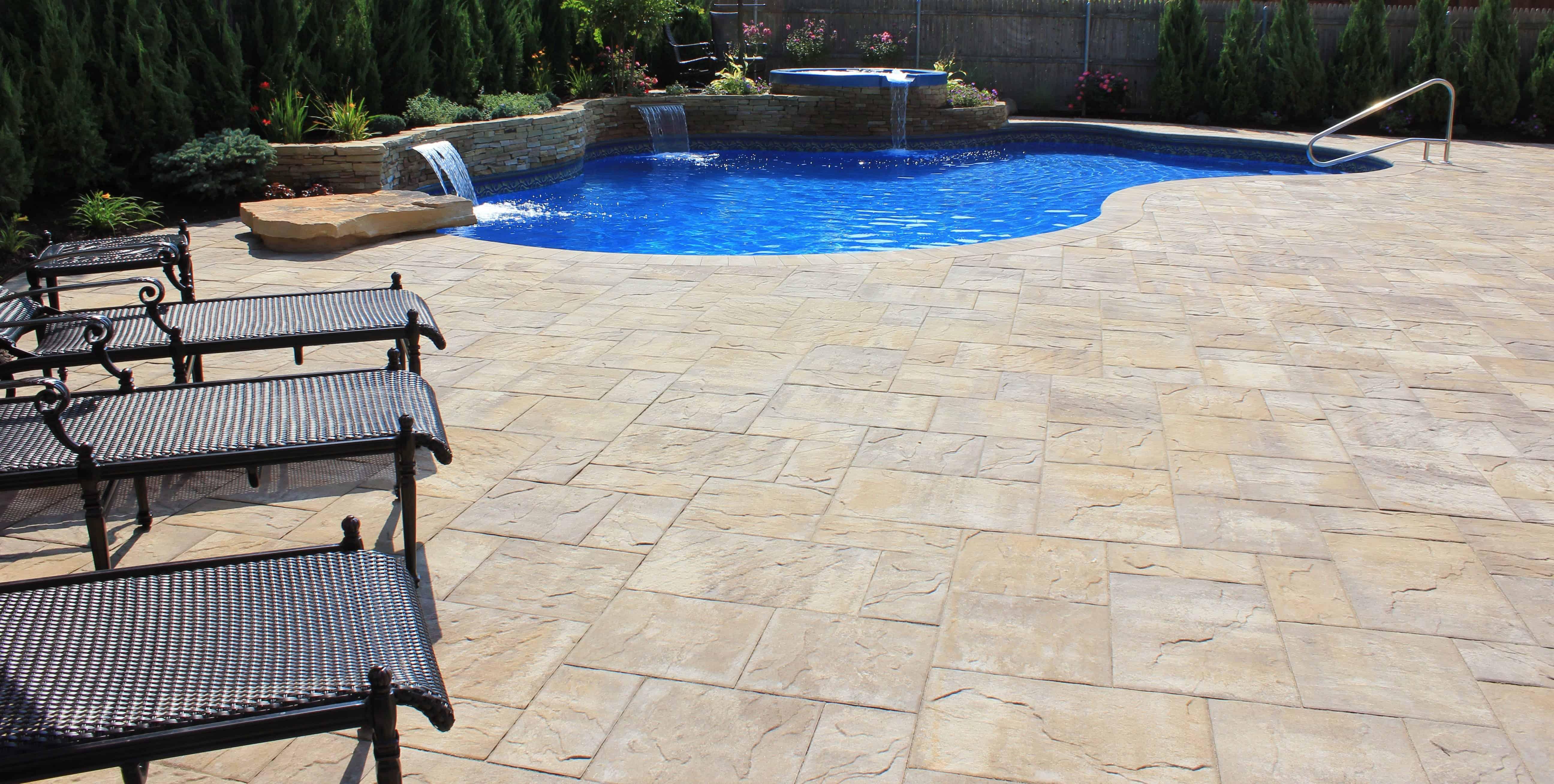 Cambridge Ledgestone XL - Sahara Chestnut Lite - Paver Pool Patio  - Merrick, Long Island NY