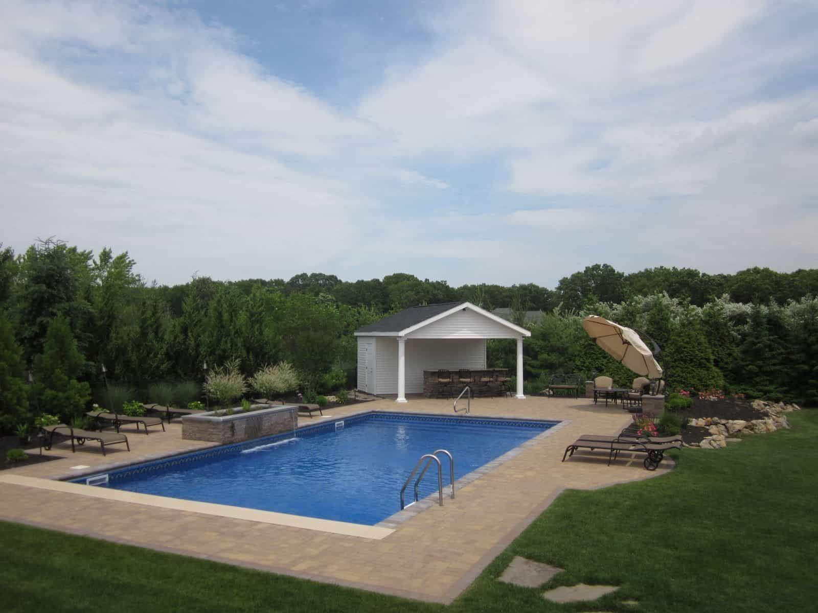 18' x 42' Pool with full length steps & In-Coping Automatic Cover - Dix Hills, Long Island NY