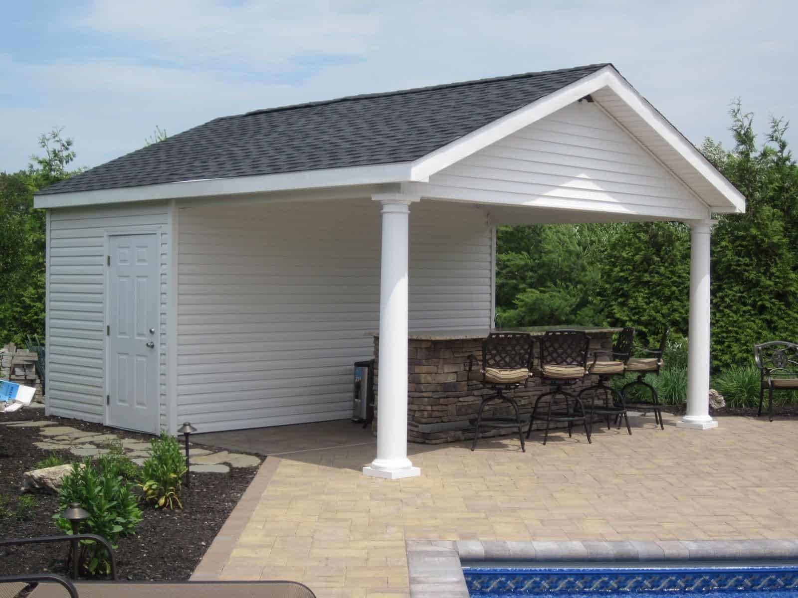 16' x 18' Pool House/Cabana with outdoor bar, bathroom, and storage room - Dix Hills, Long Island NY