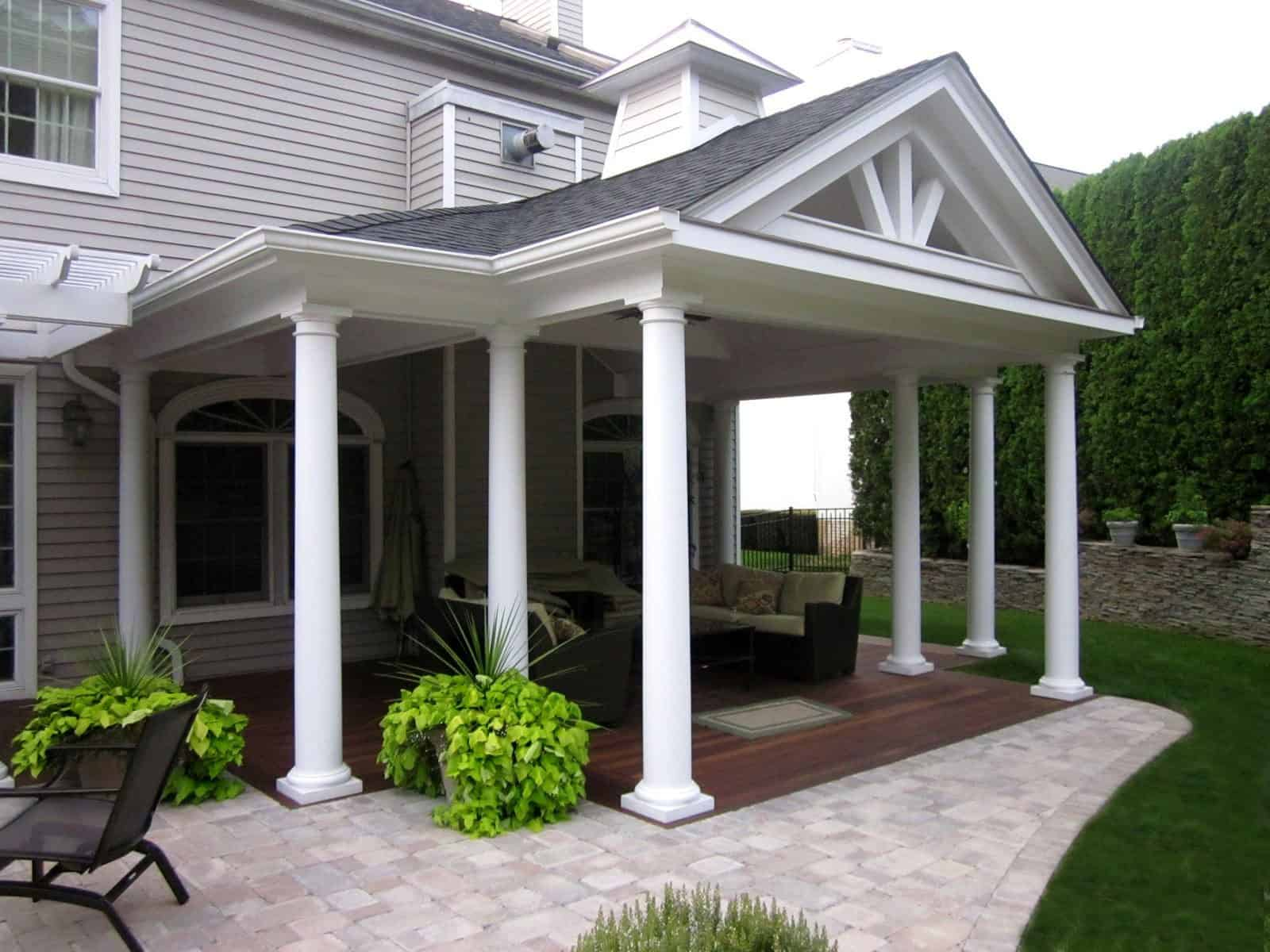 17' x 23' Outdoor Room with pitched roof, columns, and copper cupola - Roslyn, Long Island NY