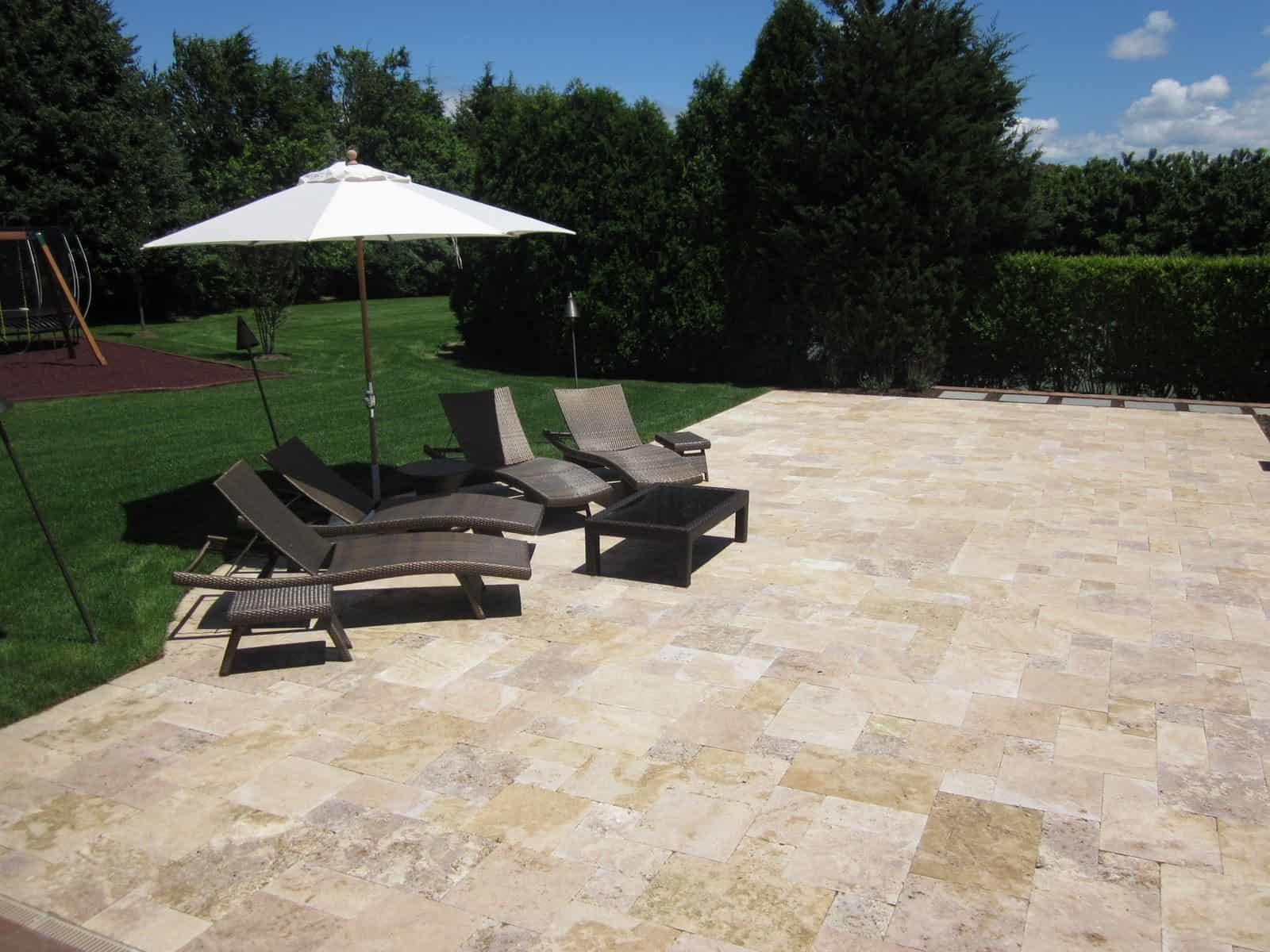 "Natural Stone Patio - Travertine ""Noche"" Pool Patio - Random Pattern - Southampton, Long Island NY"