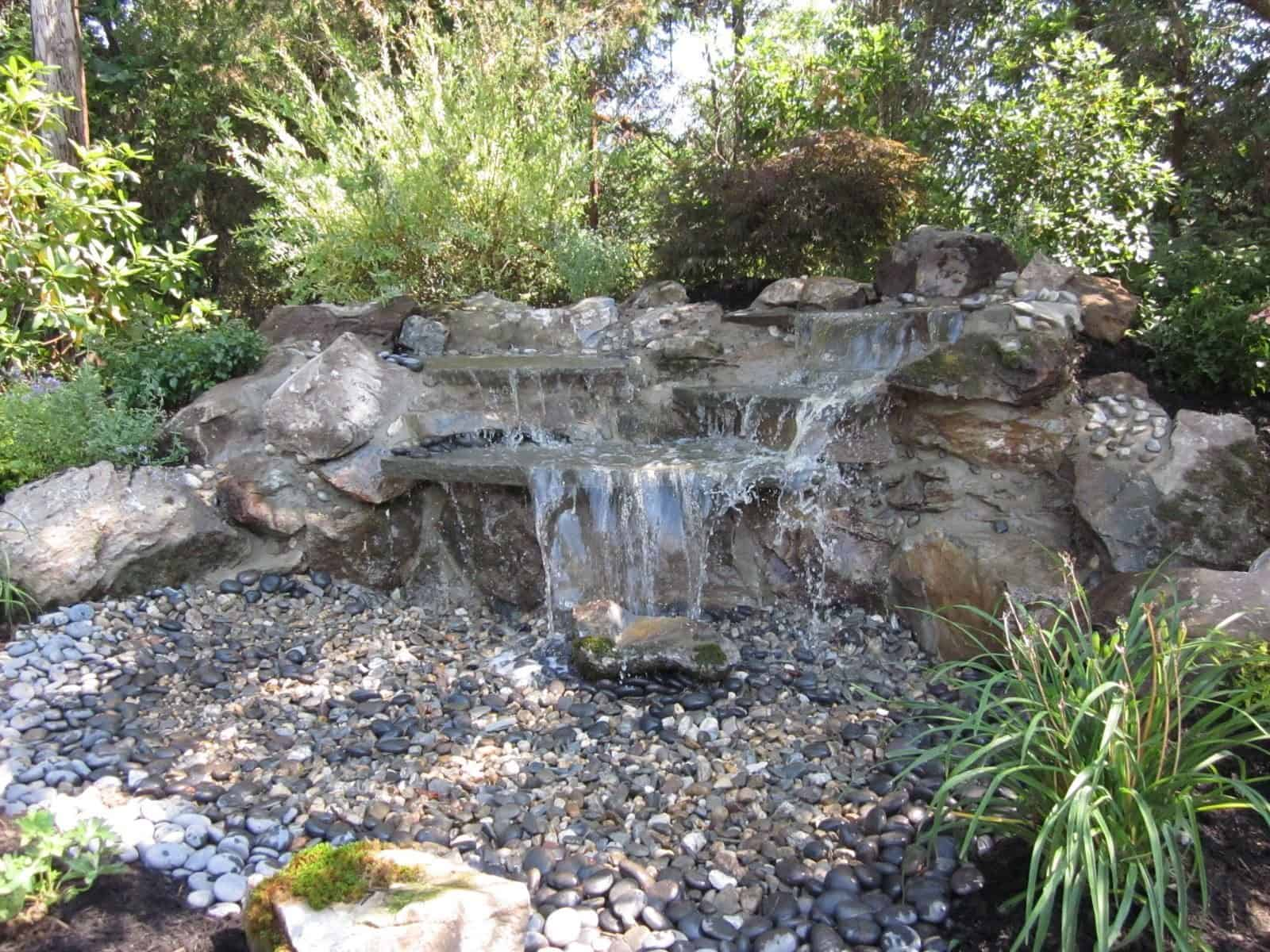 5' Moss Rock Pondless Waterfall with Mexican Beach Pebbles - Jericho, Long Island NY