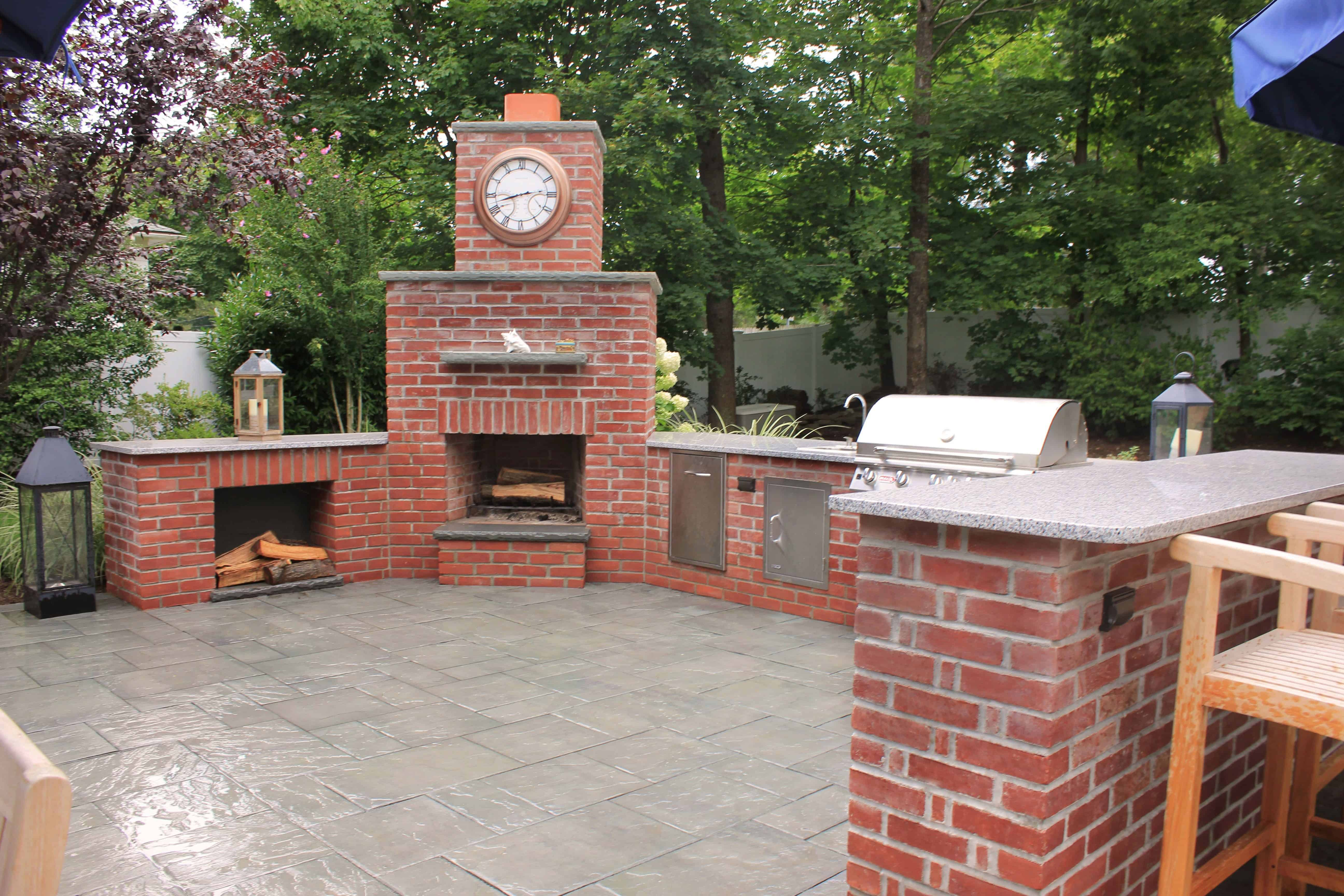 Natural Brick Fire Place with Rock Faced Bluestone Caps - Huntington, Long Island NY