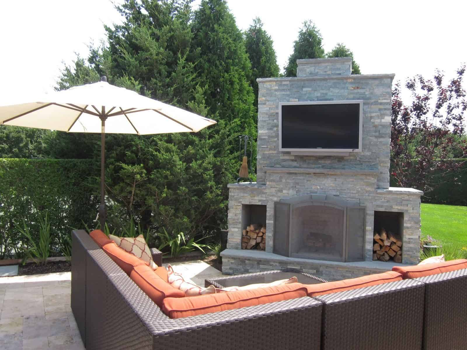Outdoor Fireplace - East West Stone - Bayside Waters - with Bluestone Accents - Outdoor Flatscreen TV Mounted on Smoke Chamber