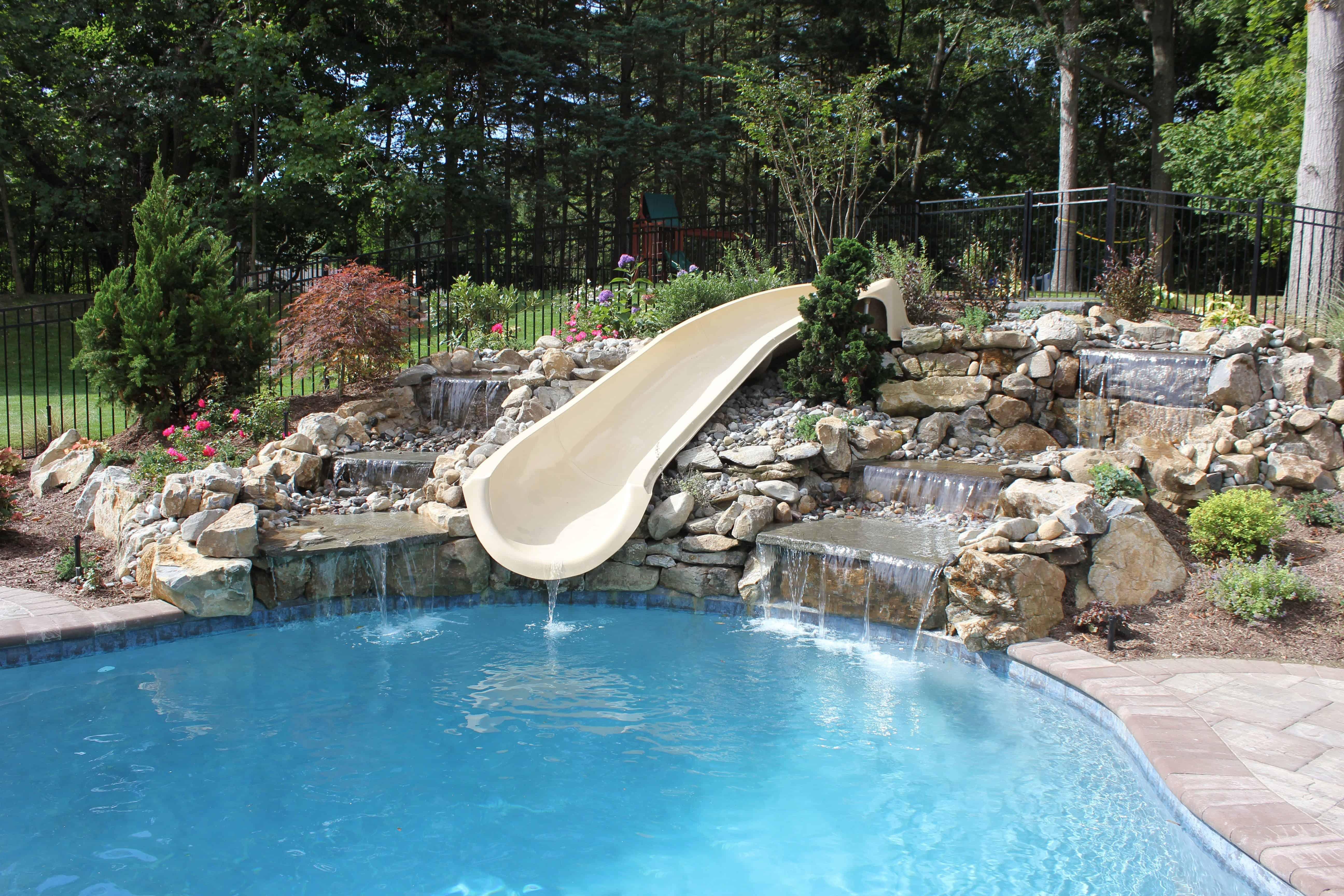 Natural Moss Rock Waterfall and Big Ride Slide - Woodbury, Long Island NY