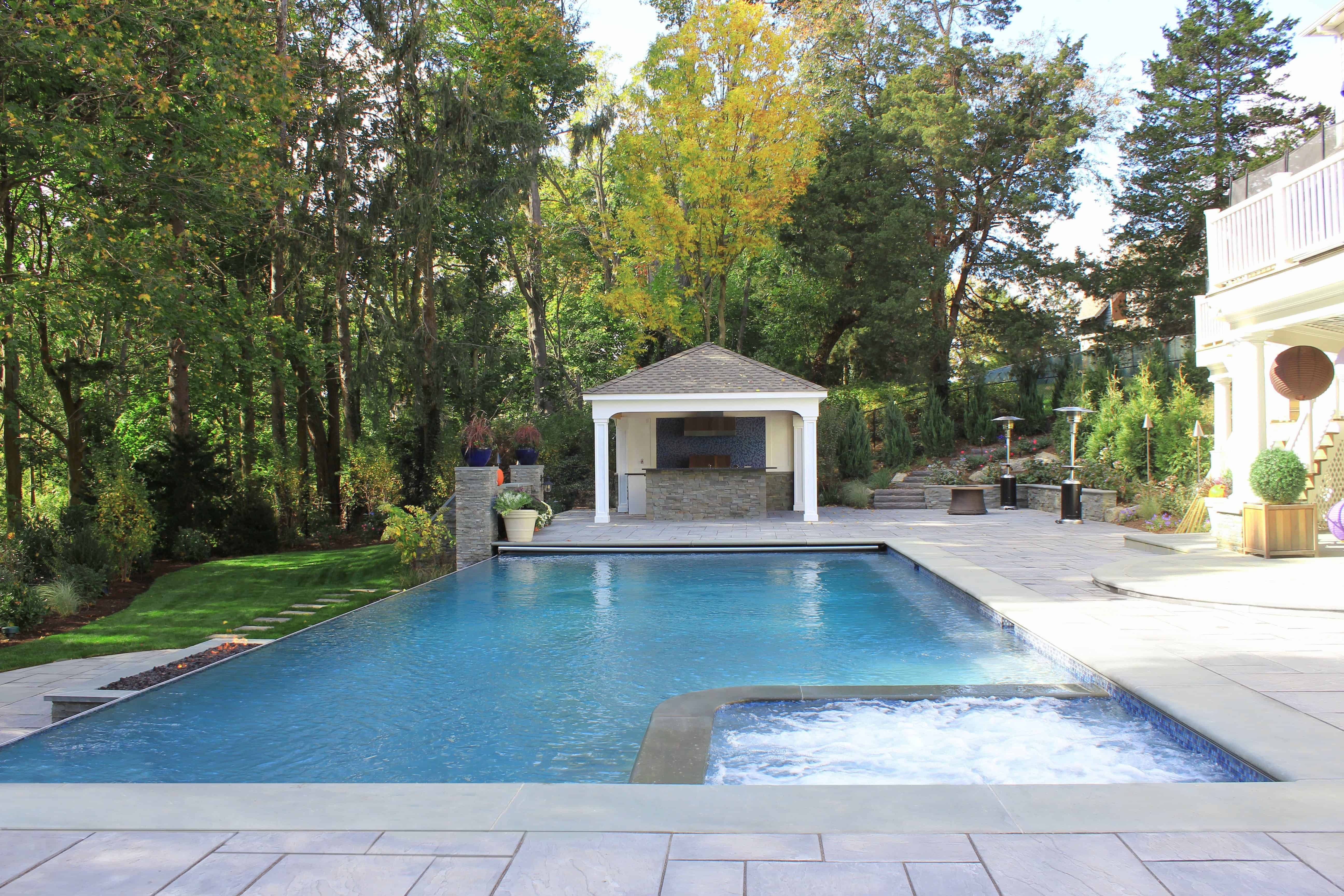 8' x 8' Custom Gunite Spa, 24' x 44' Pool with 44' Infinity Edge and Automatic Cover - Manhasset, Long Island NY