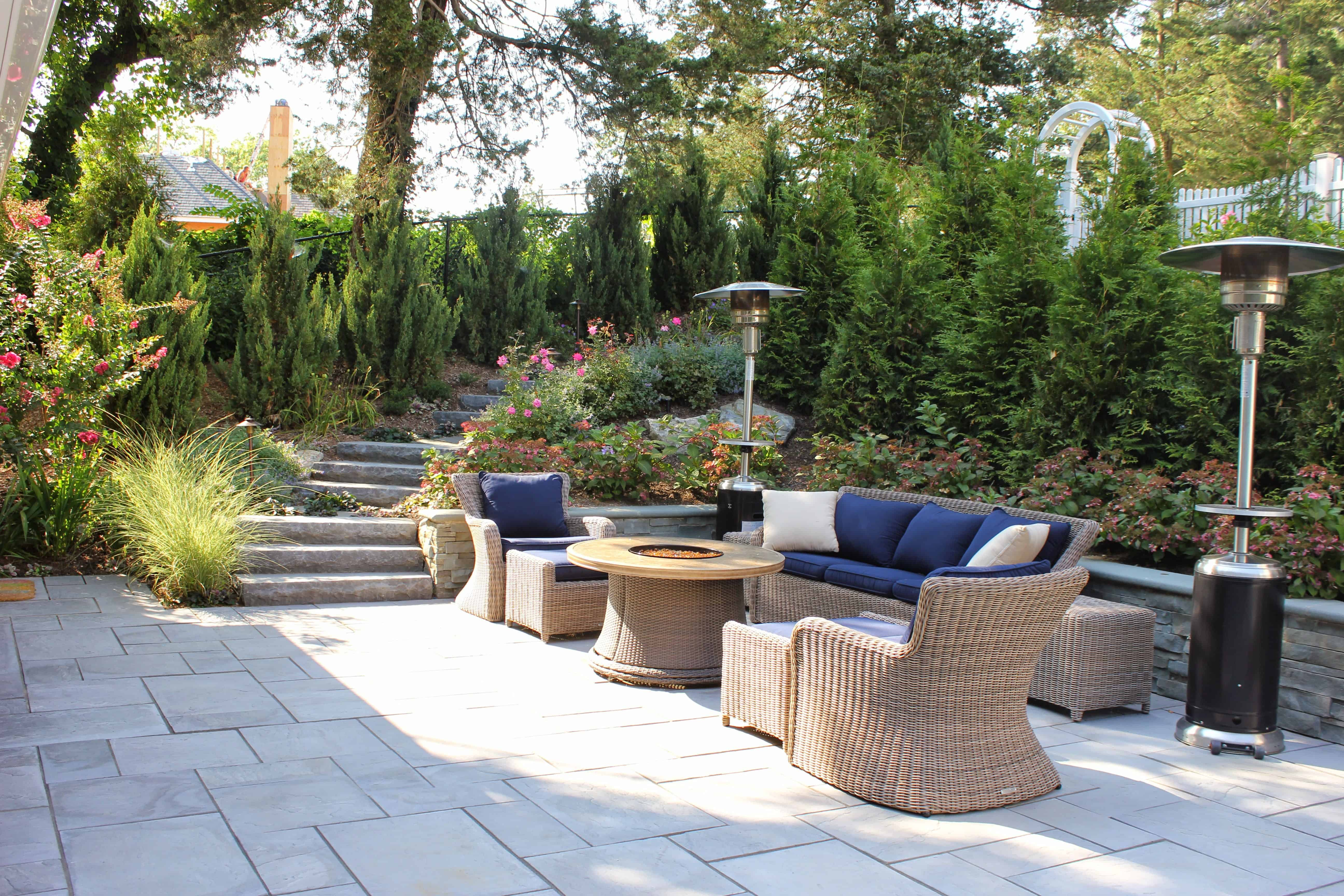 Landscape Plantings – Blue Point Juniper and Arborvitae Plicatta with Hydrangea and flowering perennials – Manhasset, Long Island NY