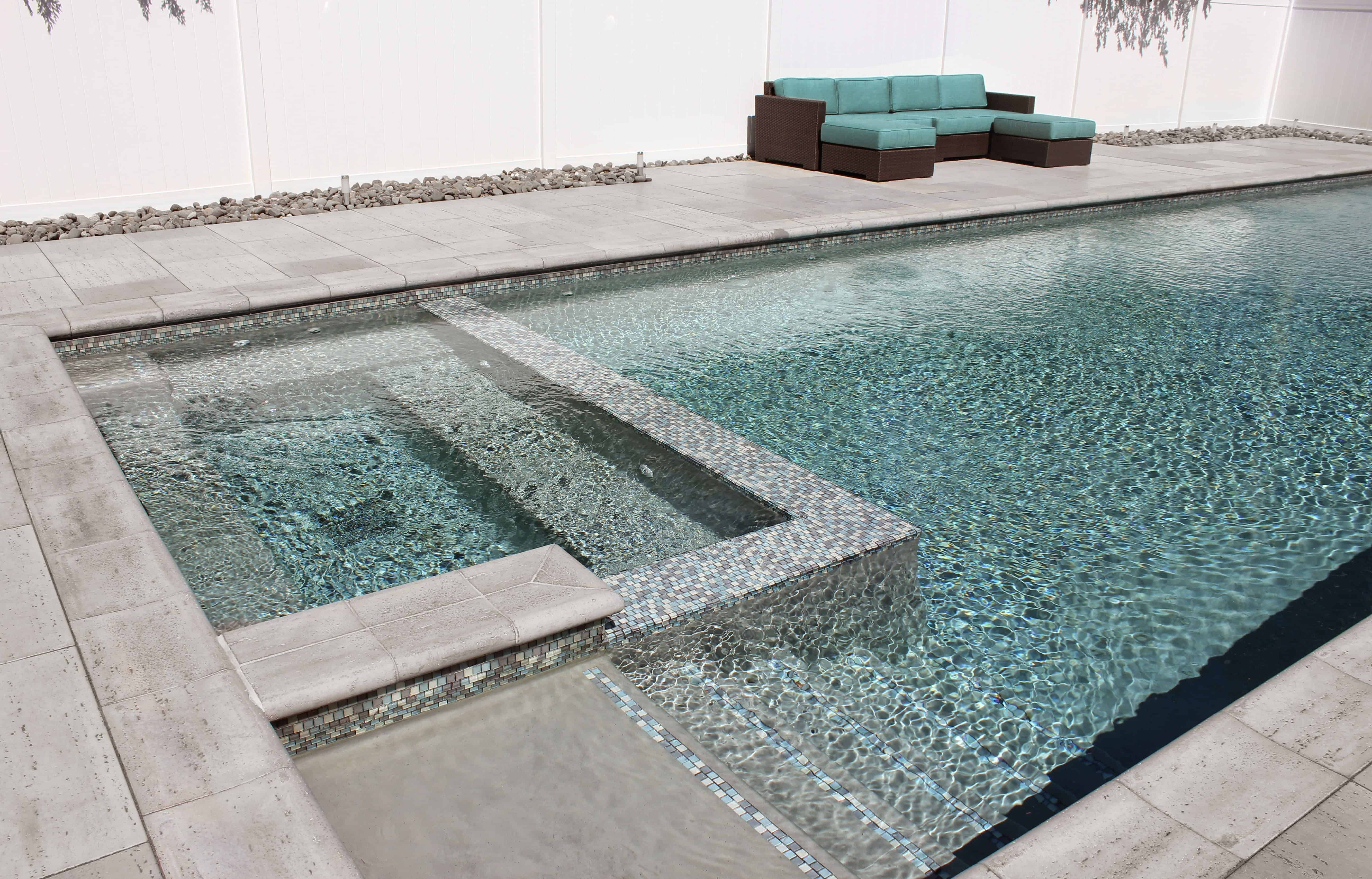 45' x 15' Gunite Pool with Glass Mosaic Tile and Spa - Syosset, Long Island NY