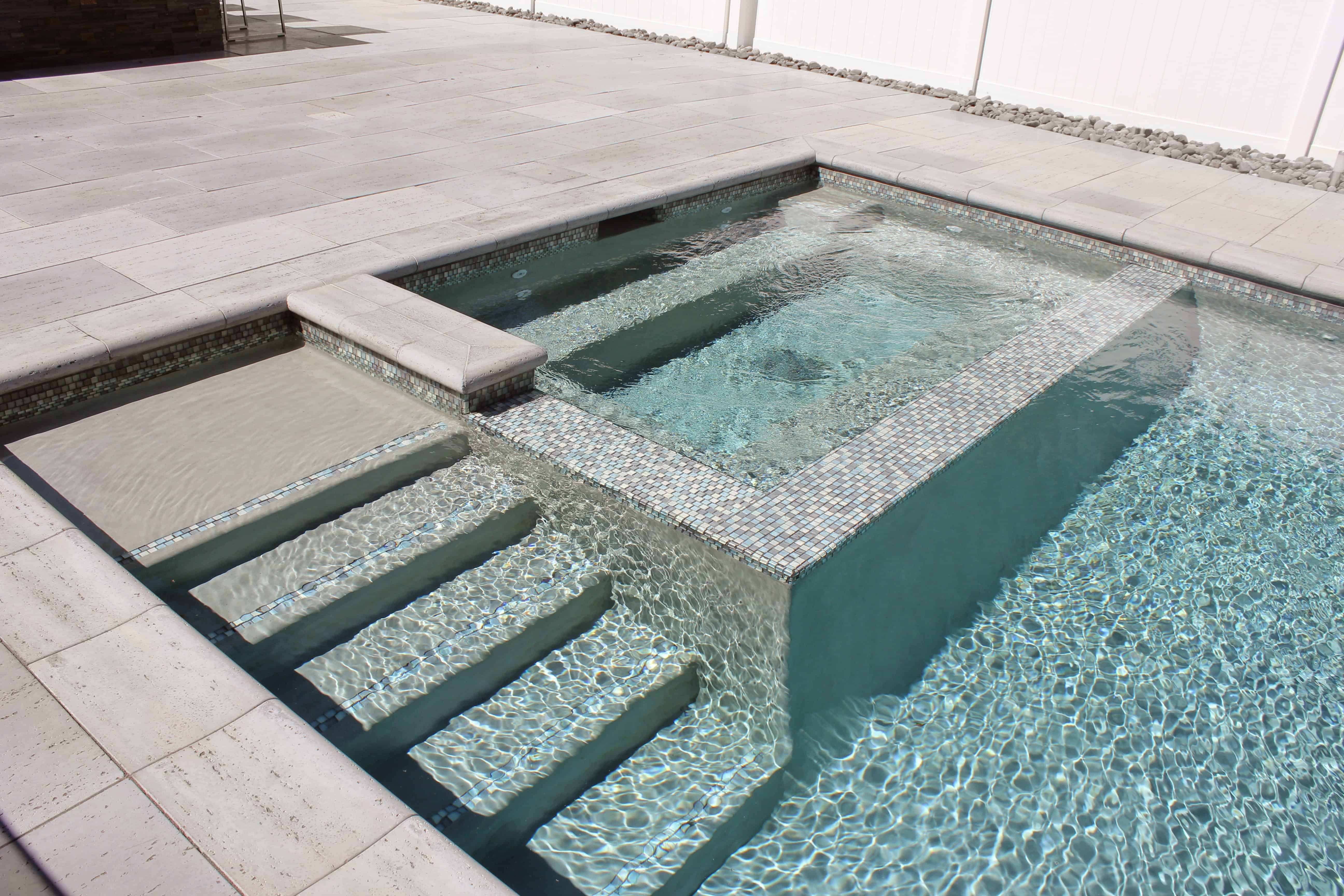 10' x 6' Gunite Spa with Glass Mosaic Tile and Custom Benches - Syosset, Long Island NY