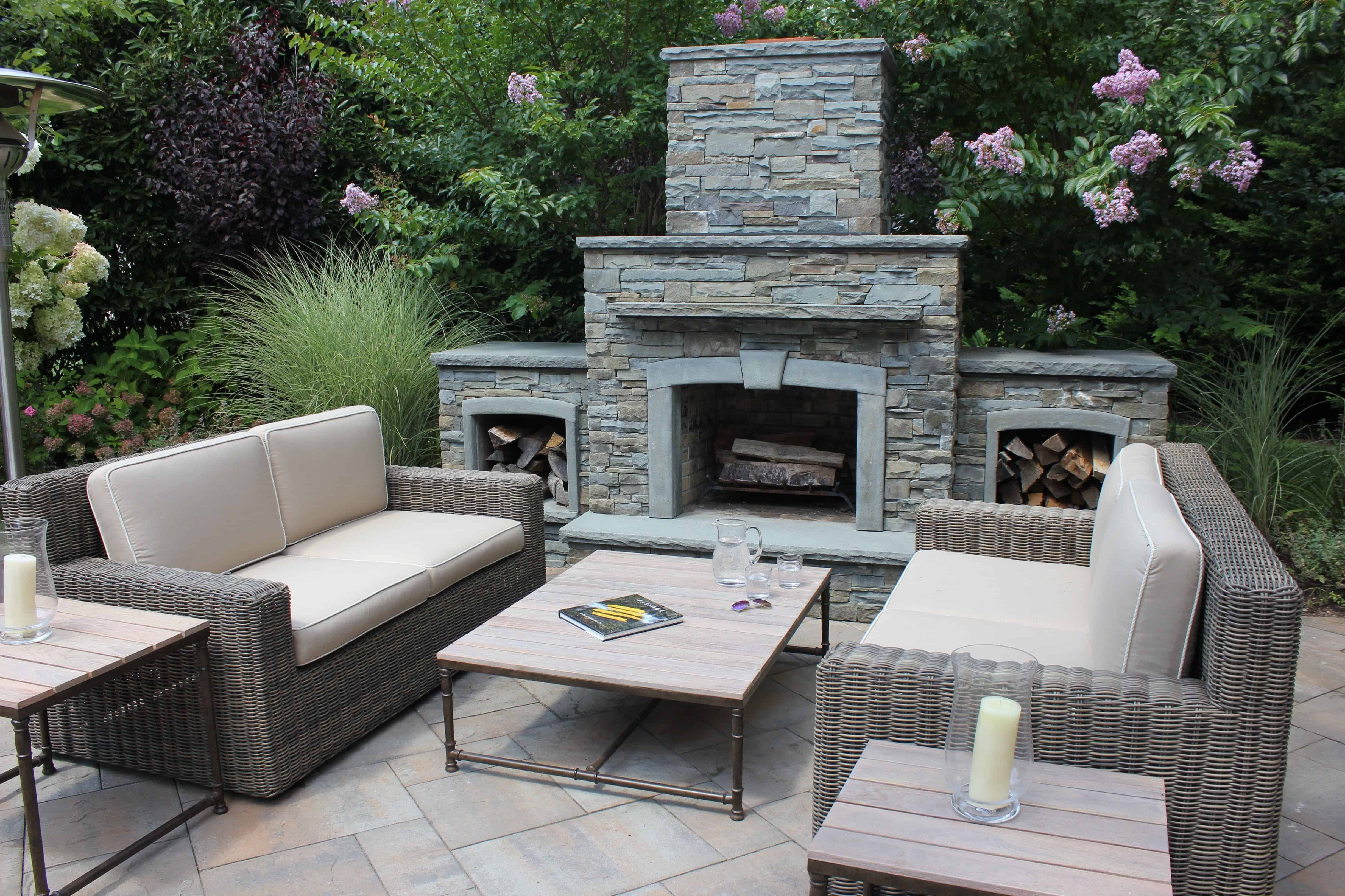 Grand Outdoor Fireplace with Natural Bluestone Veneer - Roslyn Heights, Long Island NY