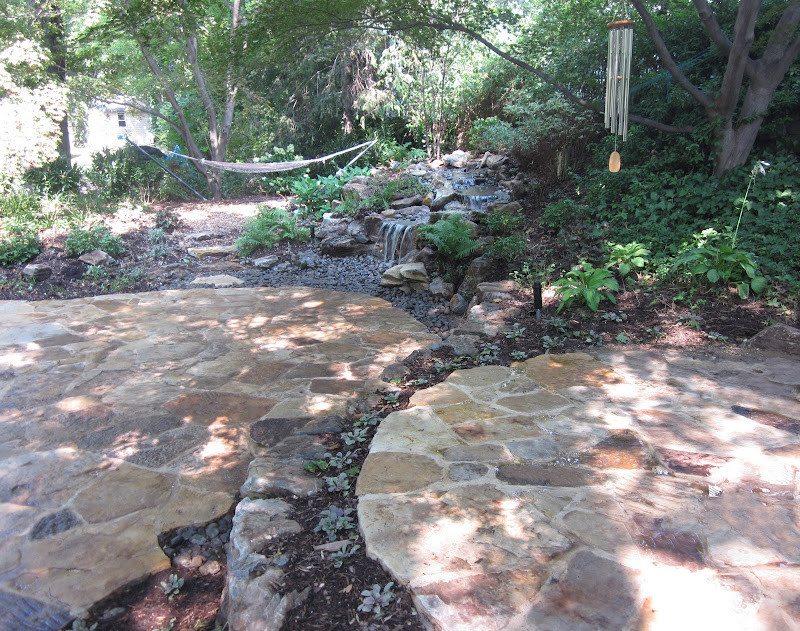 Natural Stone Patio - Irregular South Bay Quartzite Flagstone Patios with joints - Port Washington, Long Island NY
