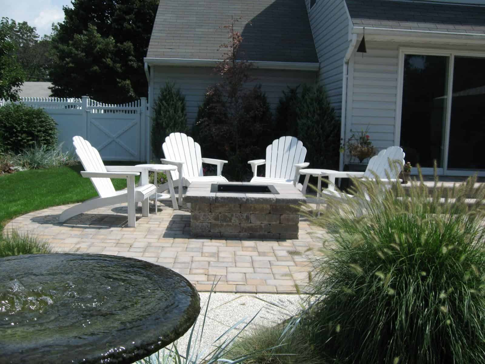 Cambridge - Old English - Color - Toffee/Ony​x - Square Fire Pit with grill grate and fire retardant insert - Islip Terrace, Long Island NY