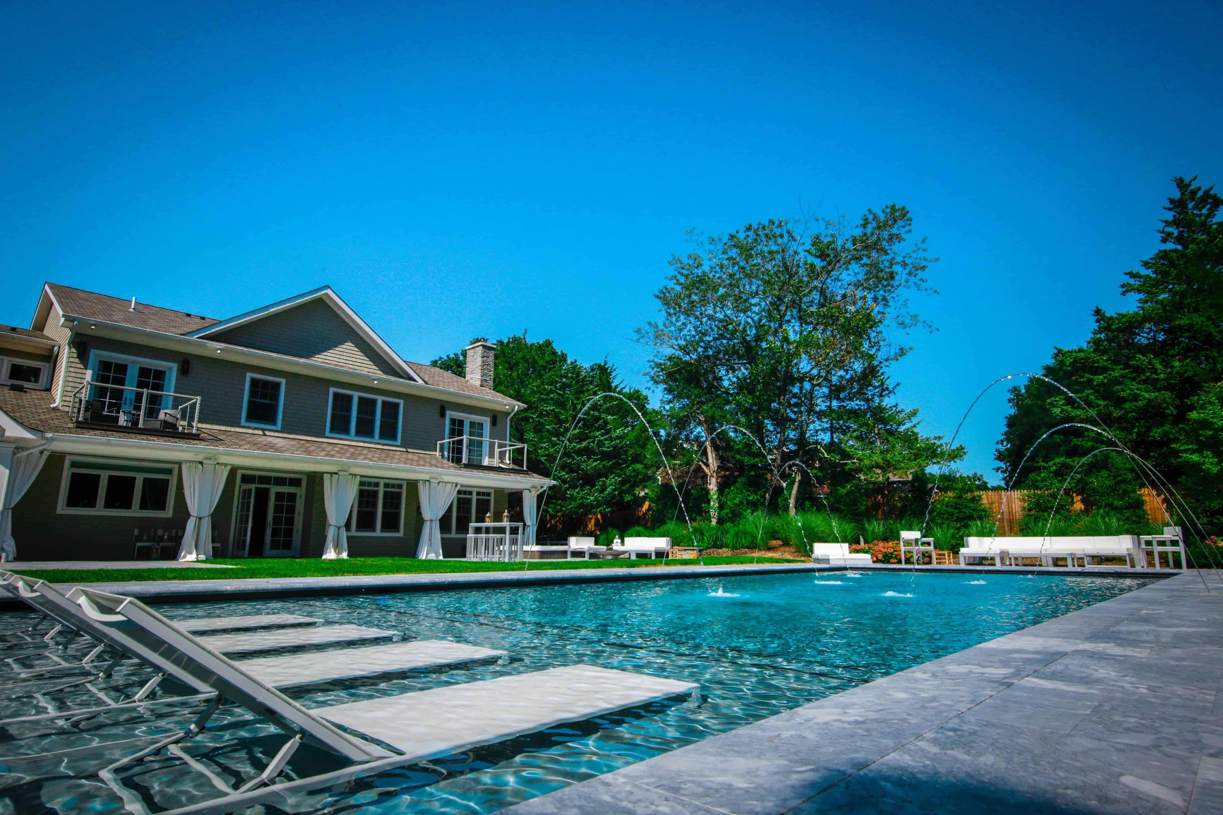 20' x 50' Gunite Pool with Sun Deck and Jandy Laminar Jets in Sag Harbor, Long Island NY