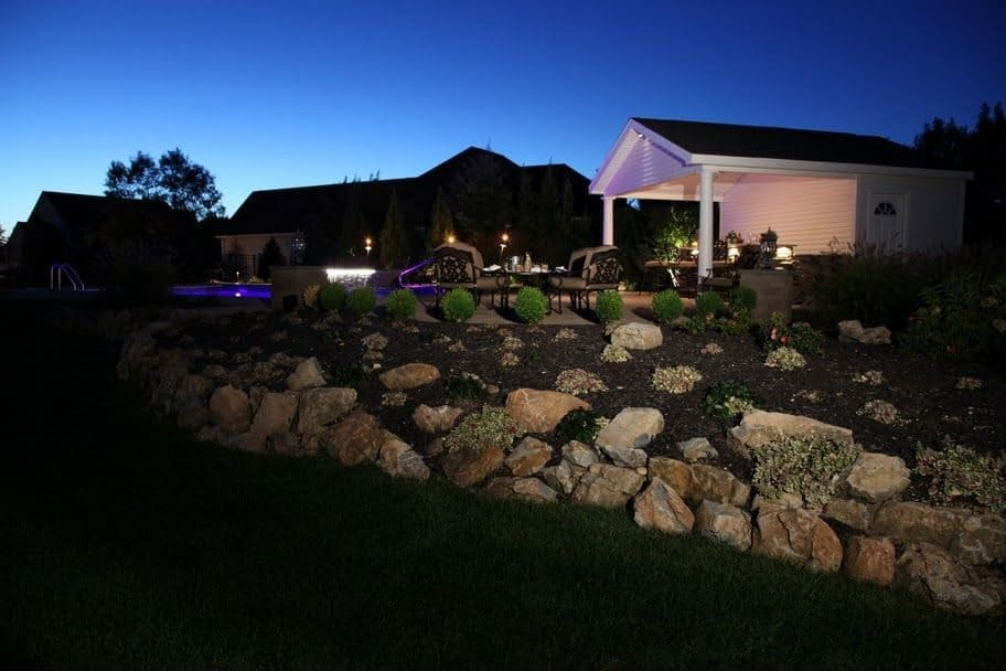 Natural Moss Rock Retaining Wall - Melville, Long Island NY