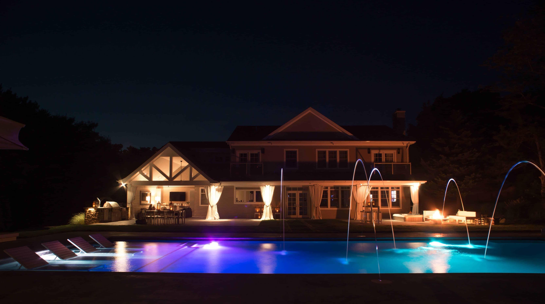 LED Lighting with Jandy Laminar Jets in Gunite Pool - Sag Harbor, Long Island NY