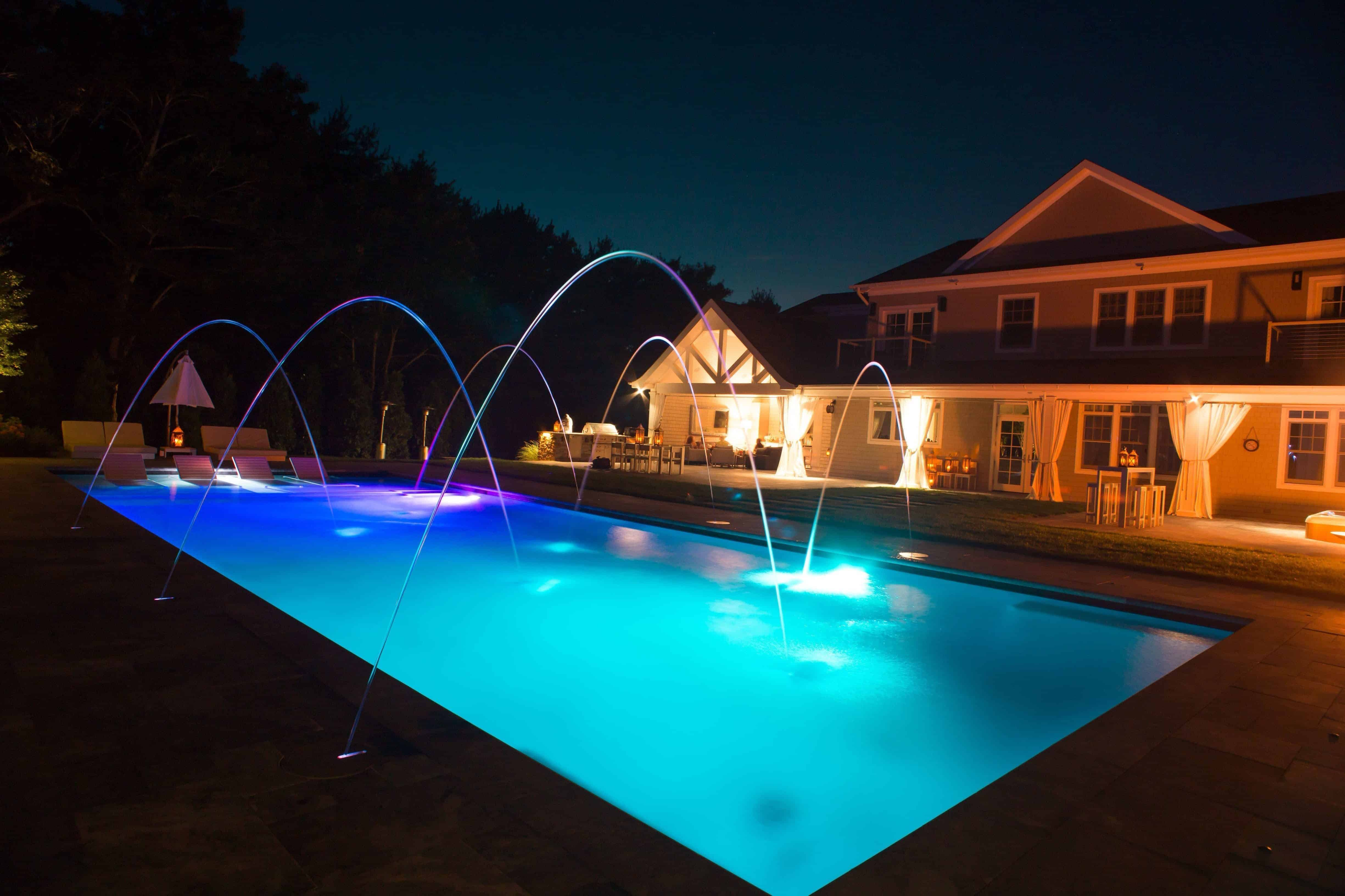 Led Lighting With Jandy Laminar Jets In Gunite Pool